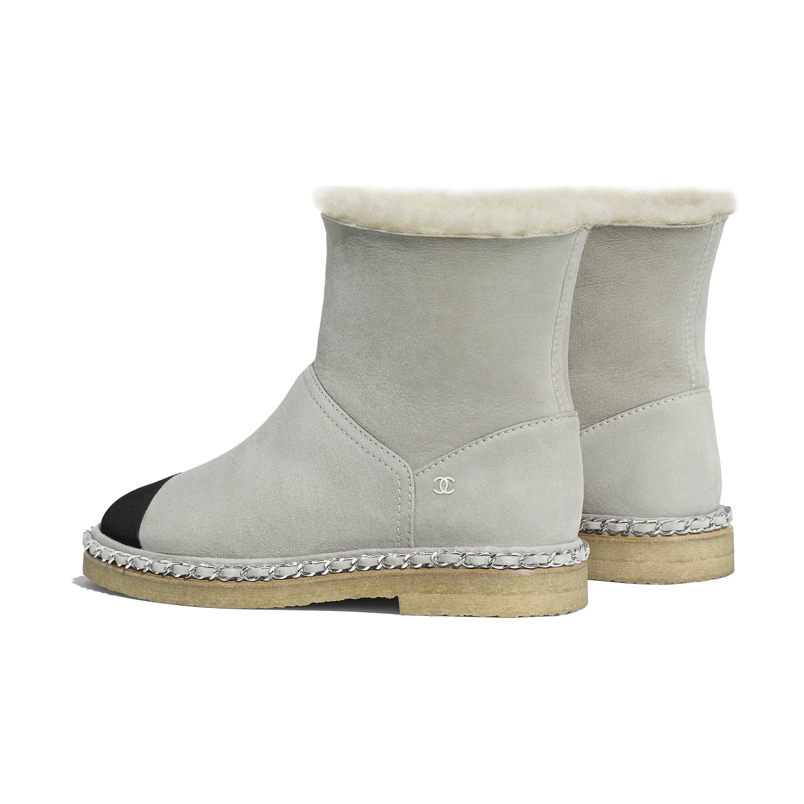 Ankle Boots - Gray & Black - Shearling Lambskin & Grosgrain - Other view - see standard sized version
