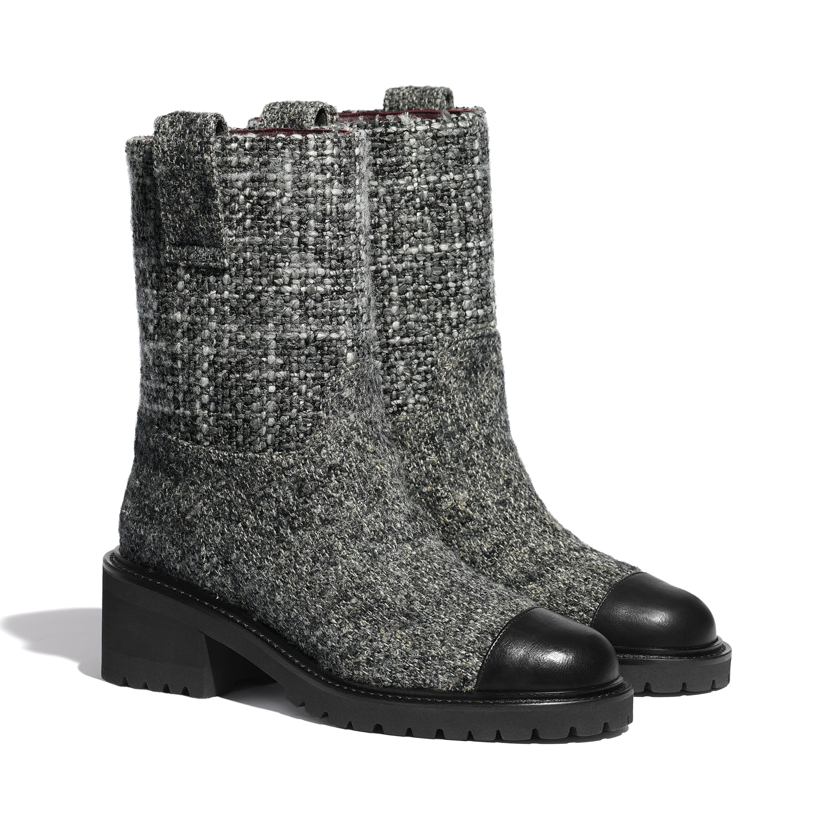 Ankle Boots - Grey & Black - Tweed & Calfskin - CHANEL - Alternative view - see standard sized version
