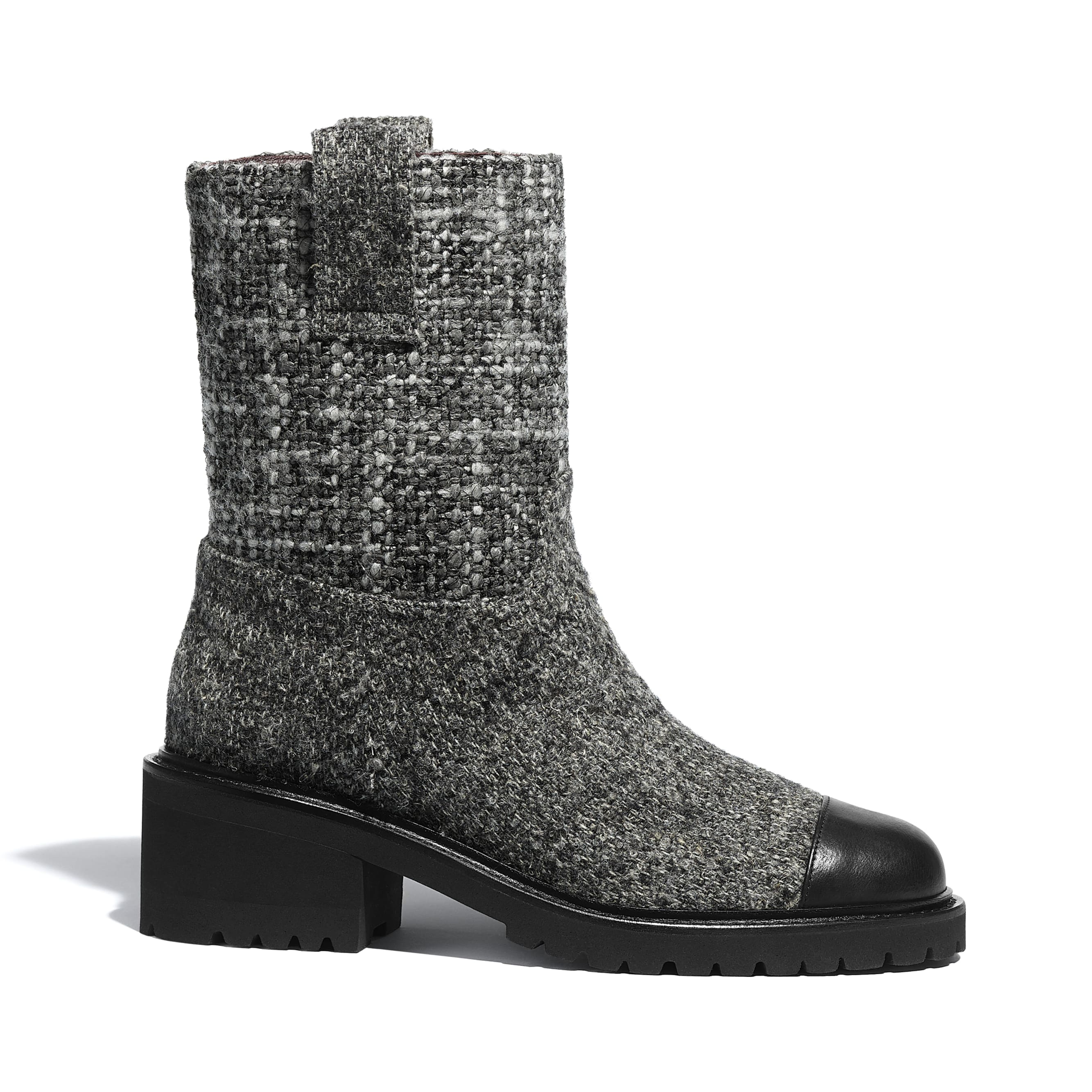 Ankle Boots - Grey & Black - Tweed & Calfskin - CHANEL - Default view - see standard sized version