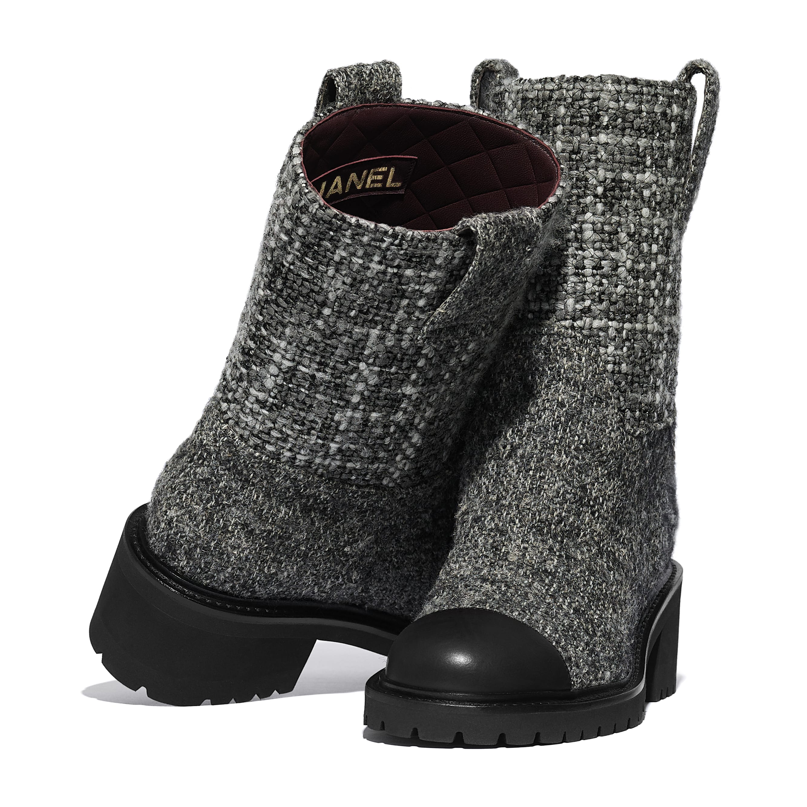 Ankle Boots - Grey & Black - Tweed & Calfskin - CHANEL - Extra view - see standard sized version