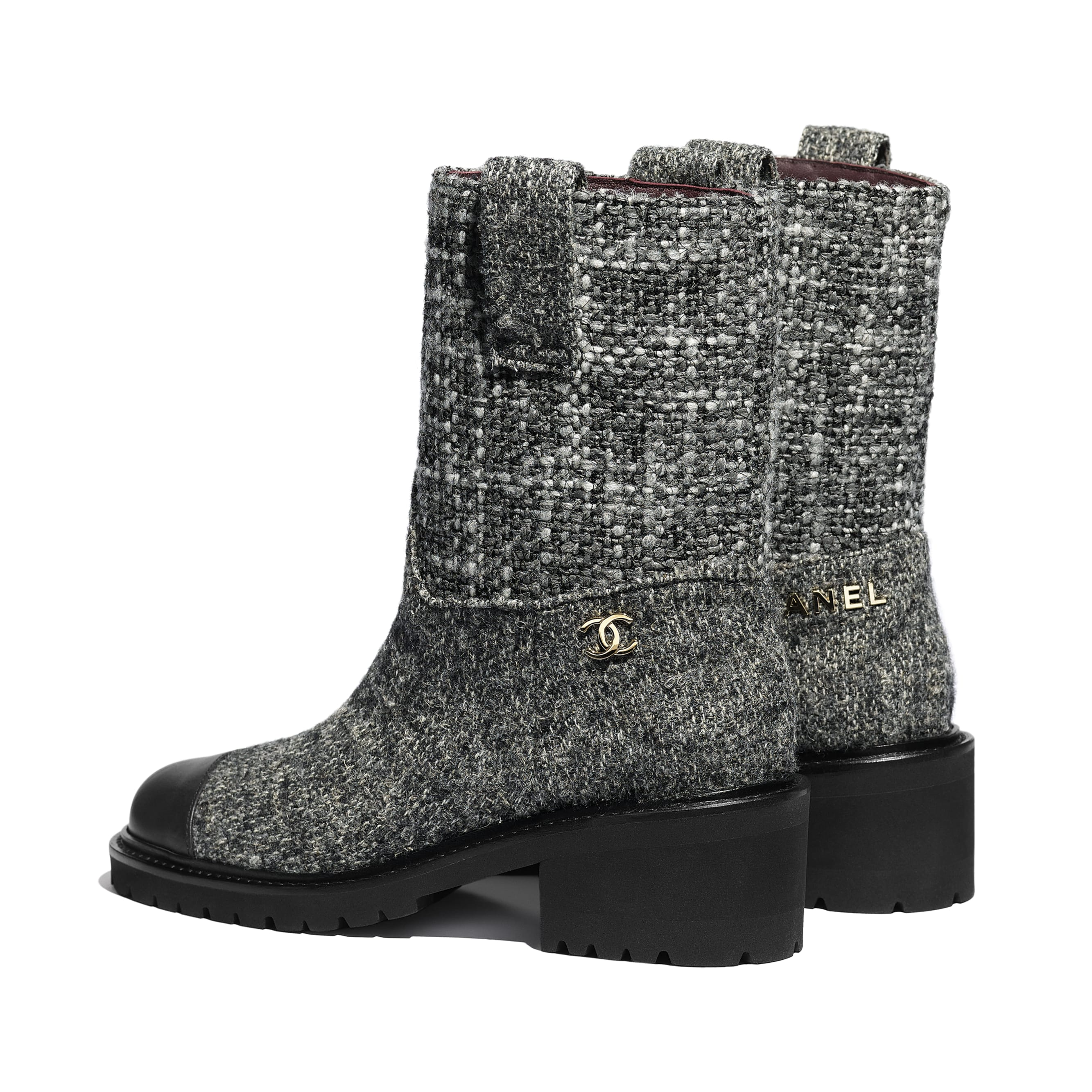 Ankle Boots - Grey & Black - Tweed & Calfskin - CHANEL - Other view - see standard sized version