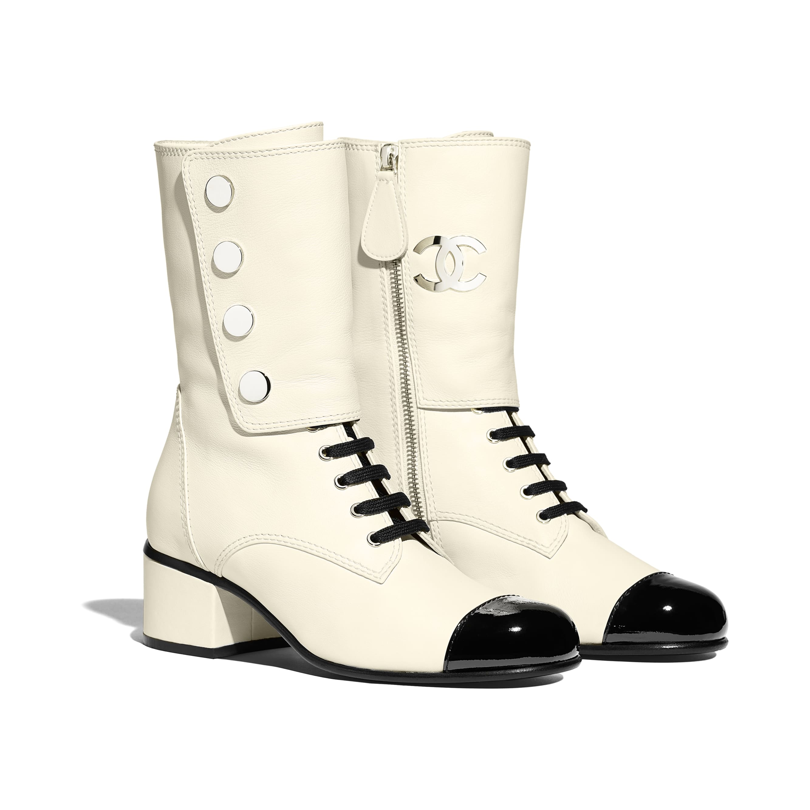 Ankle Boots - Ivory & Black - Calfskin & Patent Calfskin - Alternative view - see standard sized version
