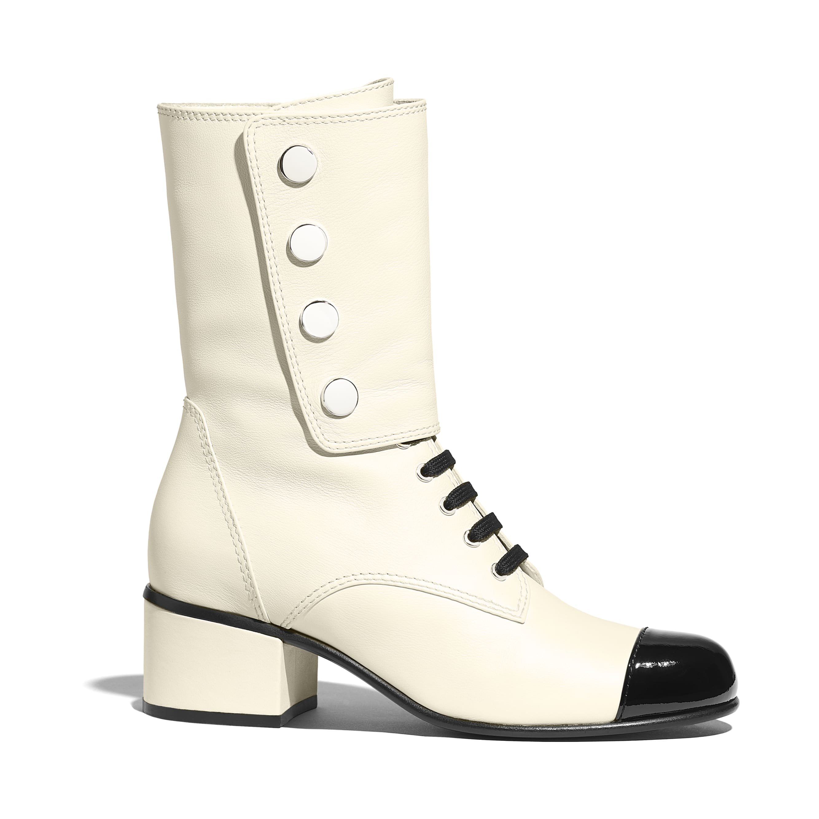 Ankle Boots - Ivory & Black - Calfskin & Patent Calfskin - Default view - see standard sized version
