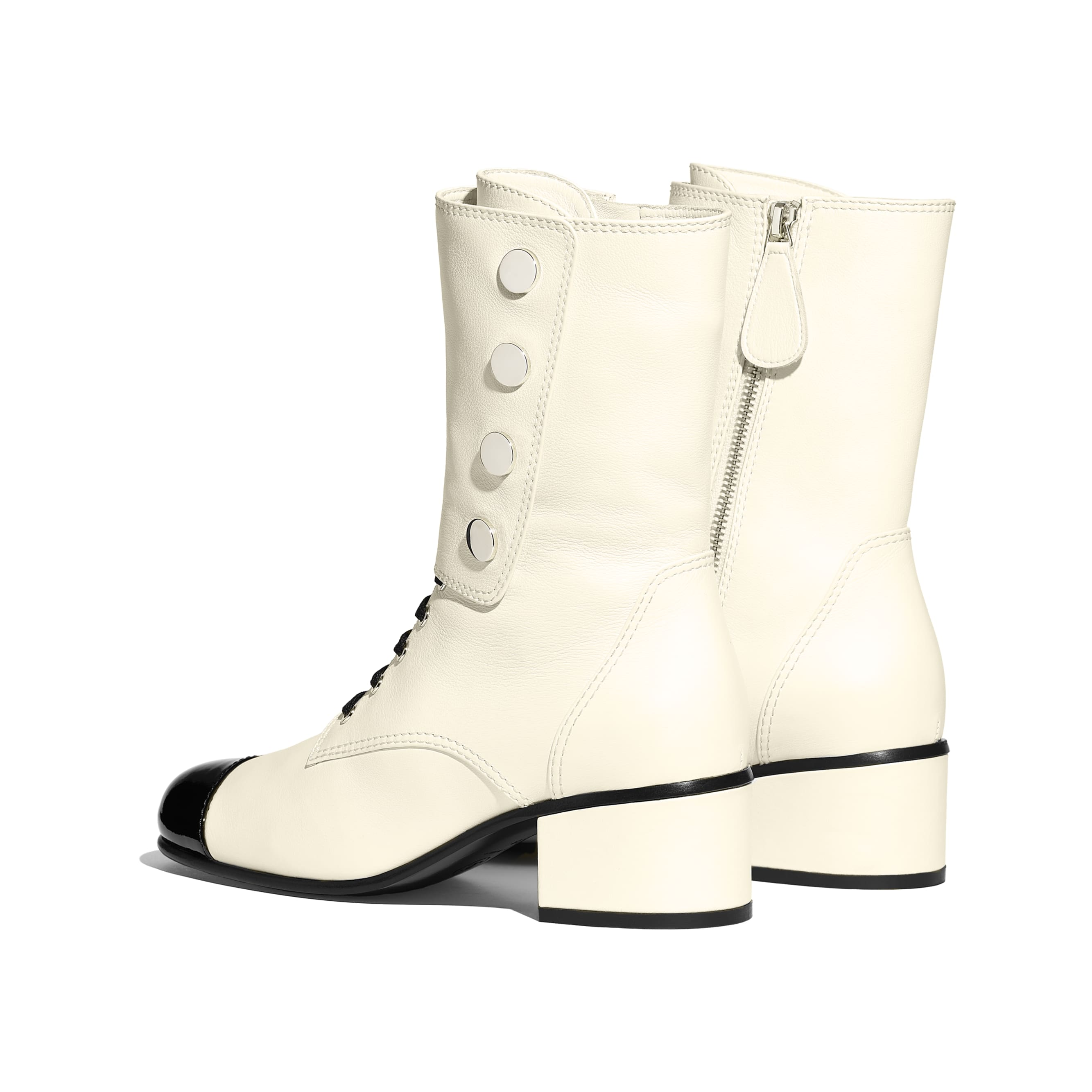 Ankle Boots - Ivory & Black - Calfskin & Patent Calfskin - Other view - see standard sized version