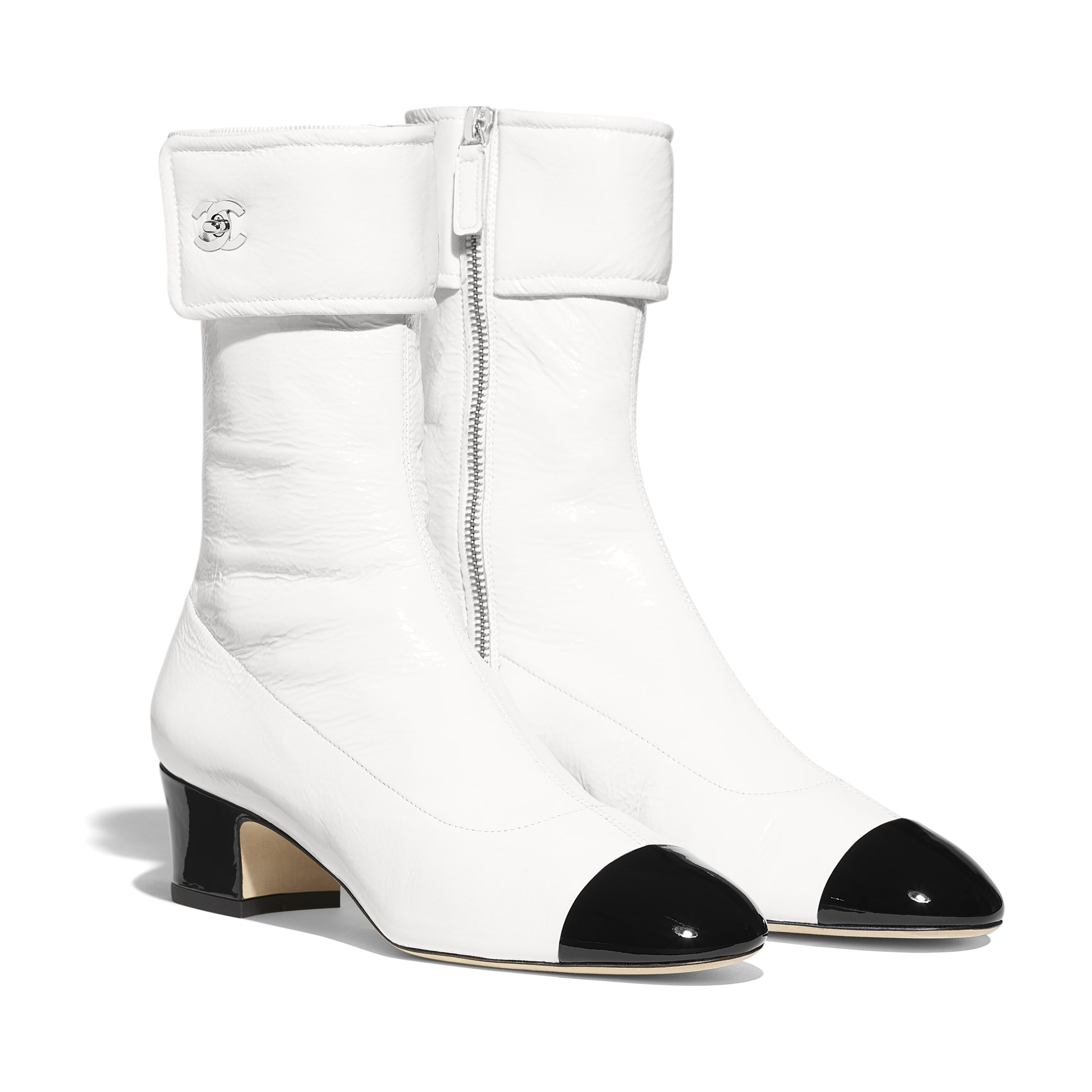 Ankle Boots - Ivory & Black - Crumpled Lambskin & Patent Calfskin - Alternative view - see standard sized version