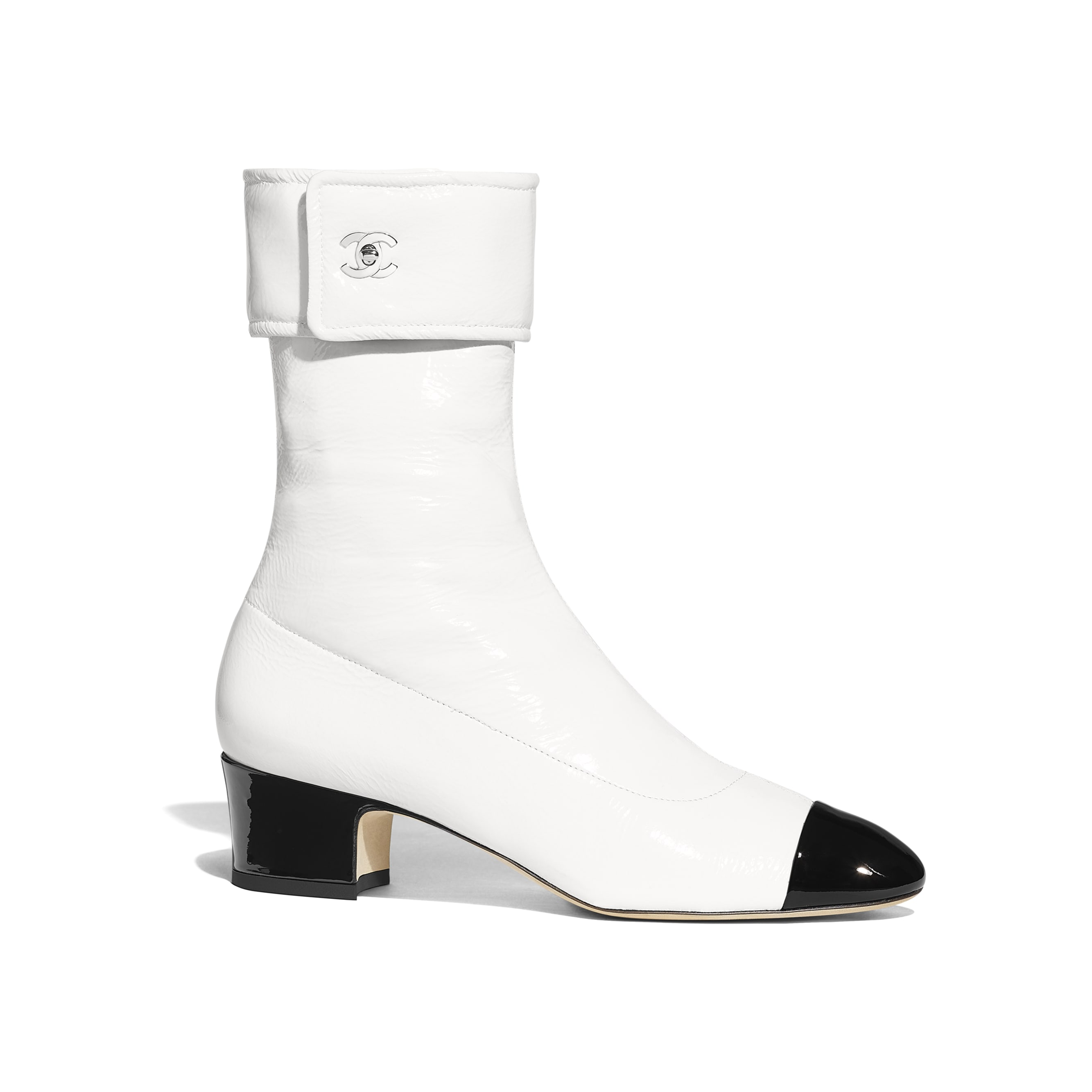 Ankle Boots - Ivory & Black - Crumpled Lambskin & Patent Calfskin - Default view - see standard sized version