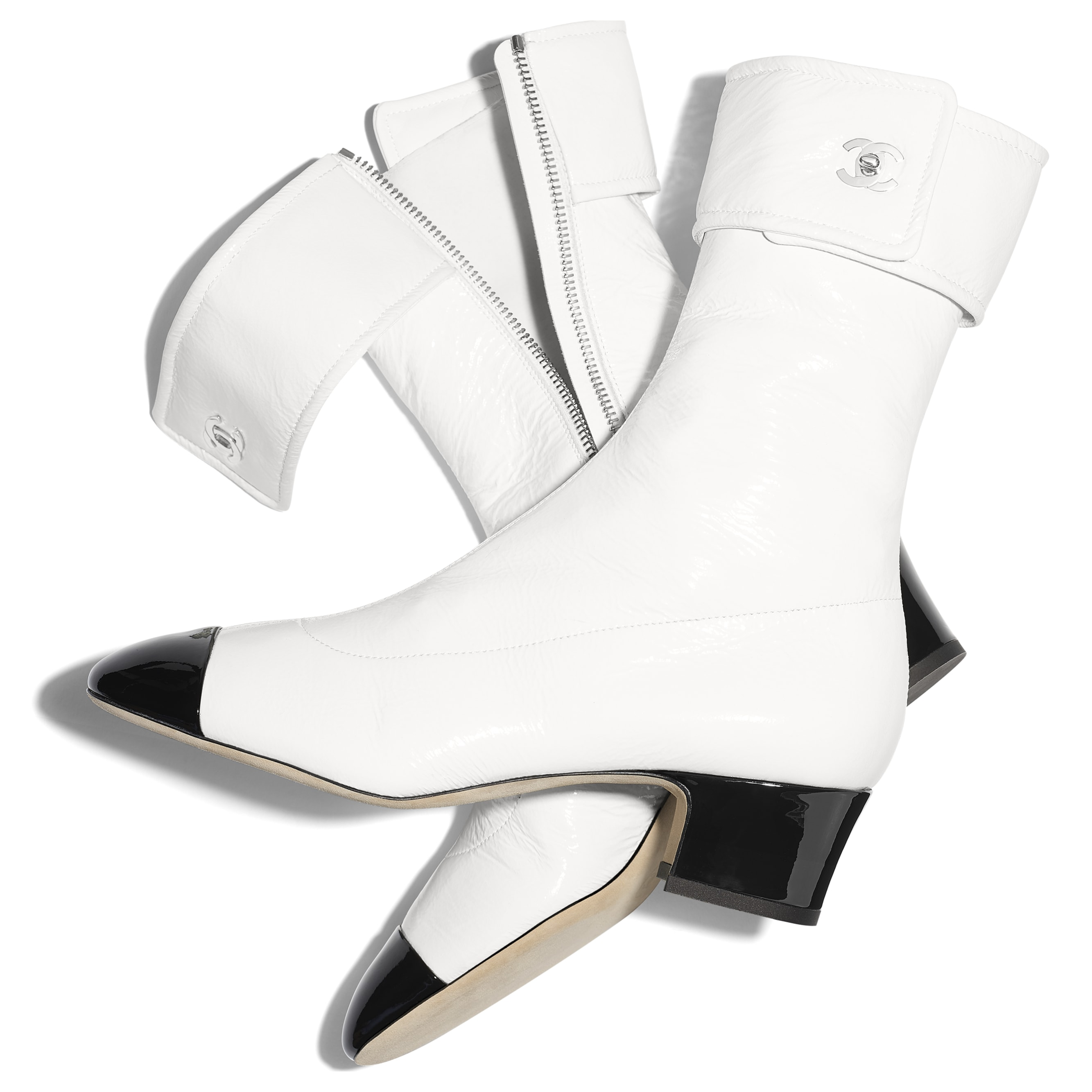 Ankle Boots - Ivory & Black - Crumpled Lambskin & Patent Calfskin - Extra view - see standard sized version