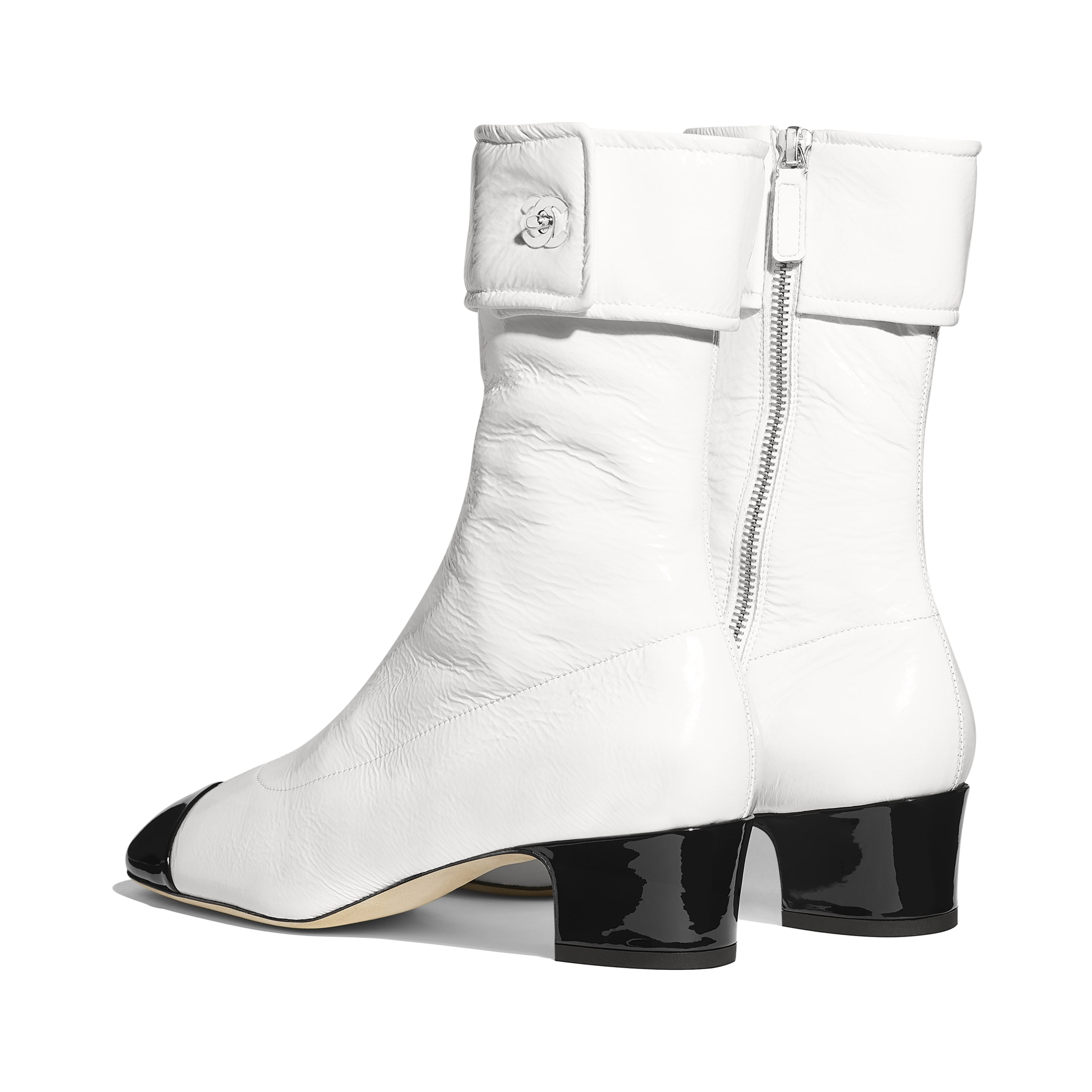 Ankle Boots - Ivory & Black - Crumpled Lambskin & Patent Calfskin - Other view - see standard sized version