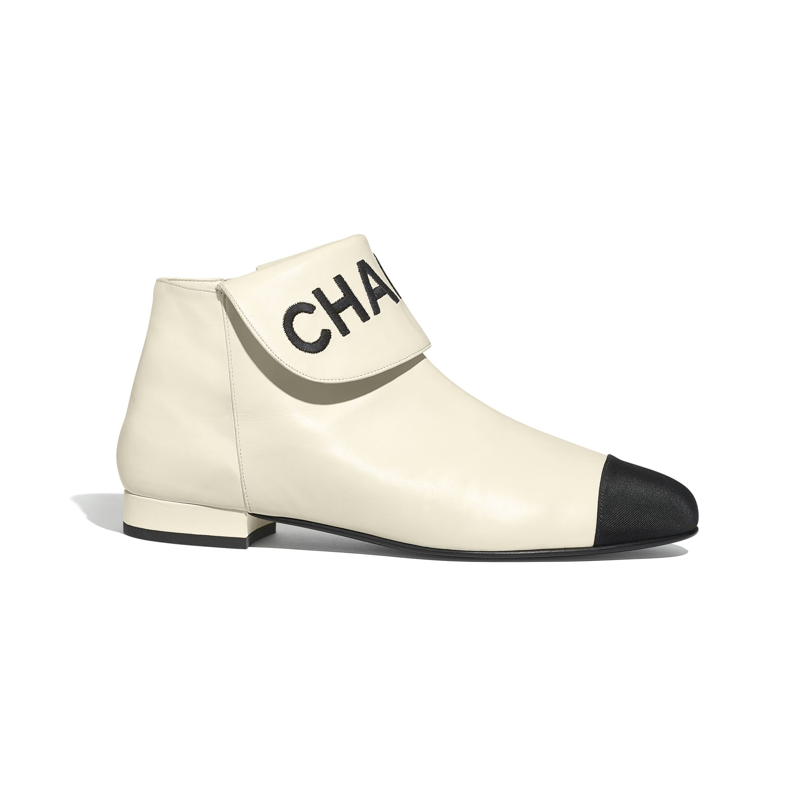 Ankle Boots - Ivory & Black - Lambskin & Grosgrain - Default view - see standard sized version