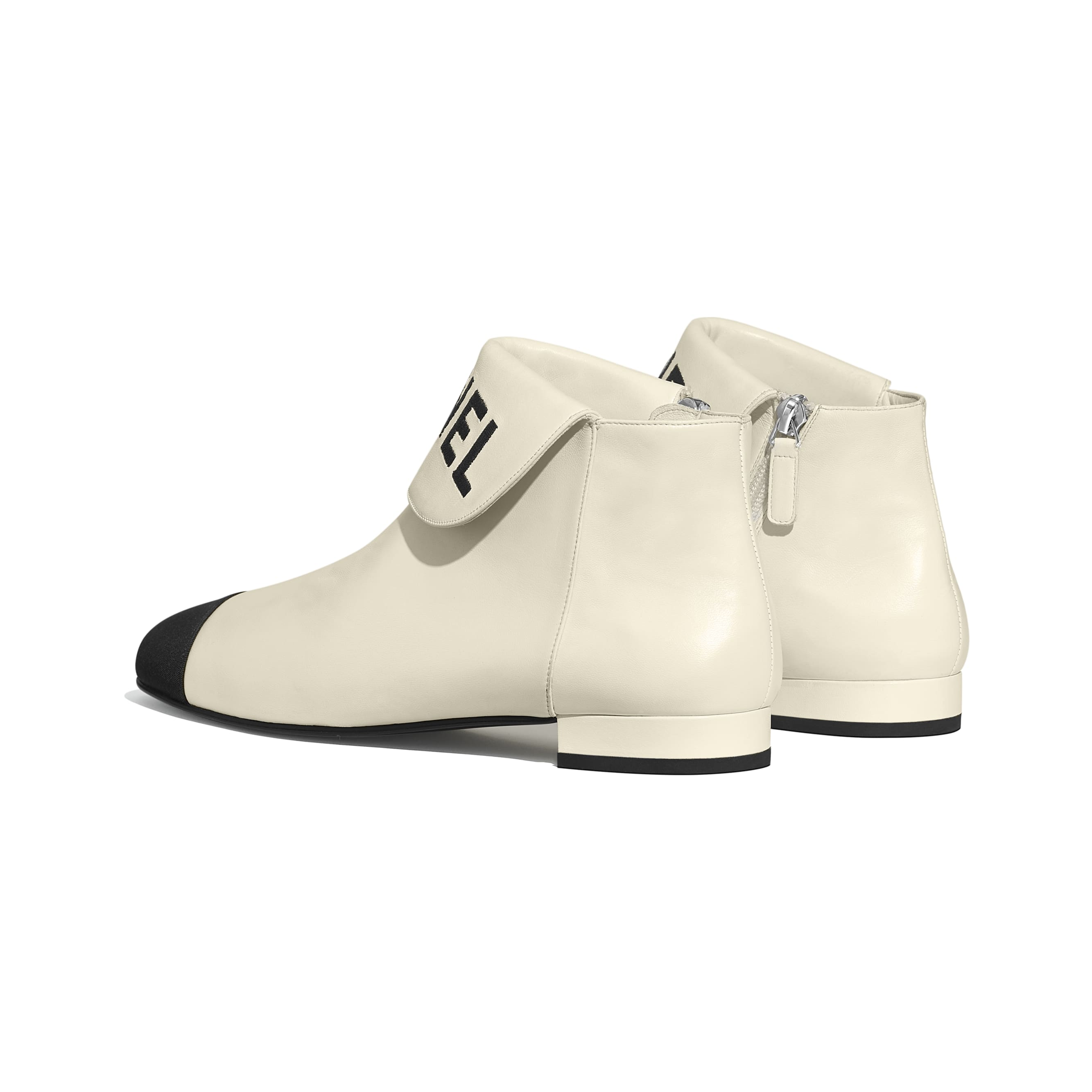 Ankle Boots - Ivory & Black - Lambskin & Grosgrain - Other view - see standard sized version