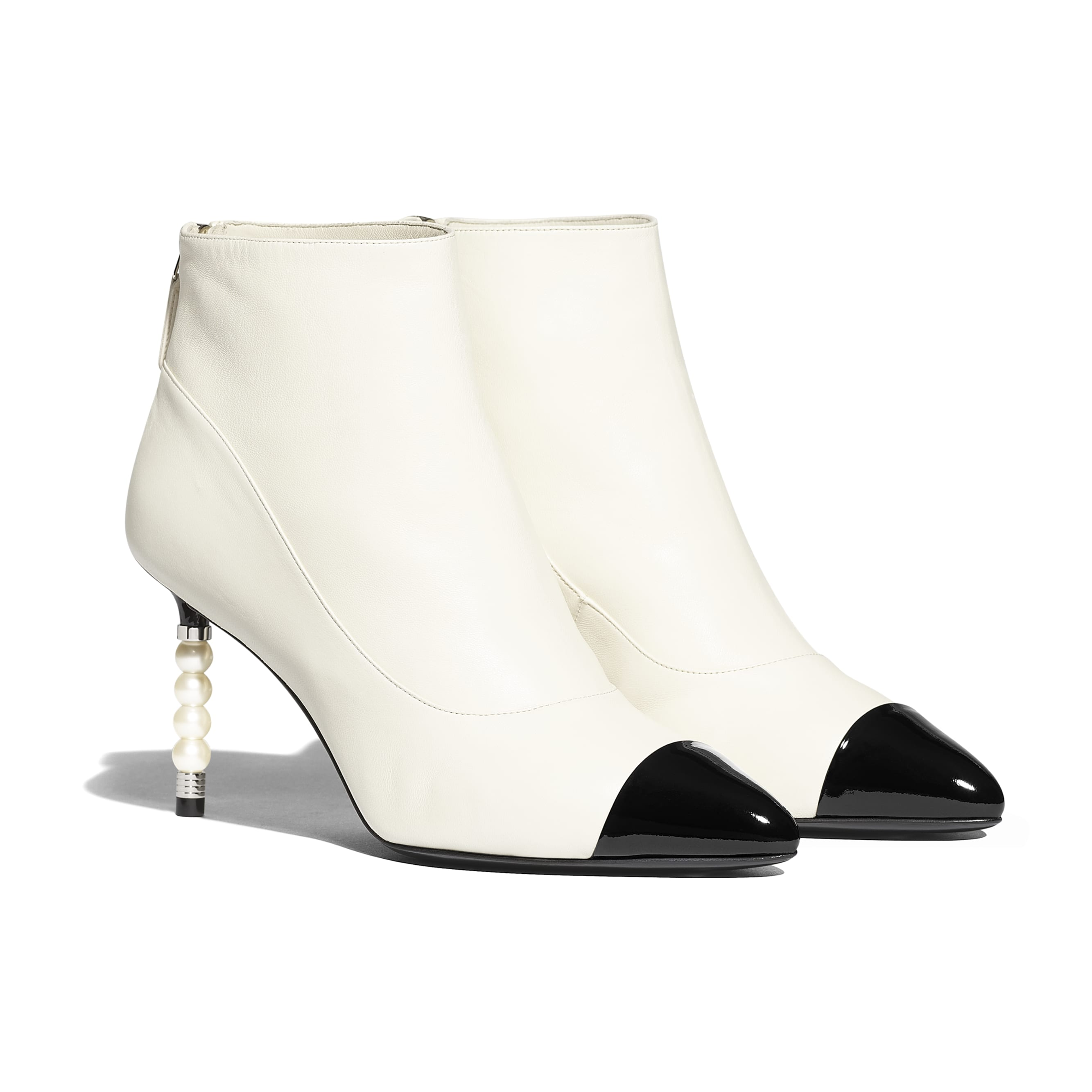 Ankle Boots - Ivory & Black - Lambskin & Patent Calfskin - Alternative view - see standard sized version