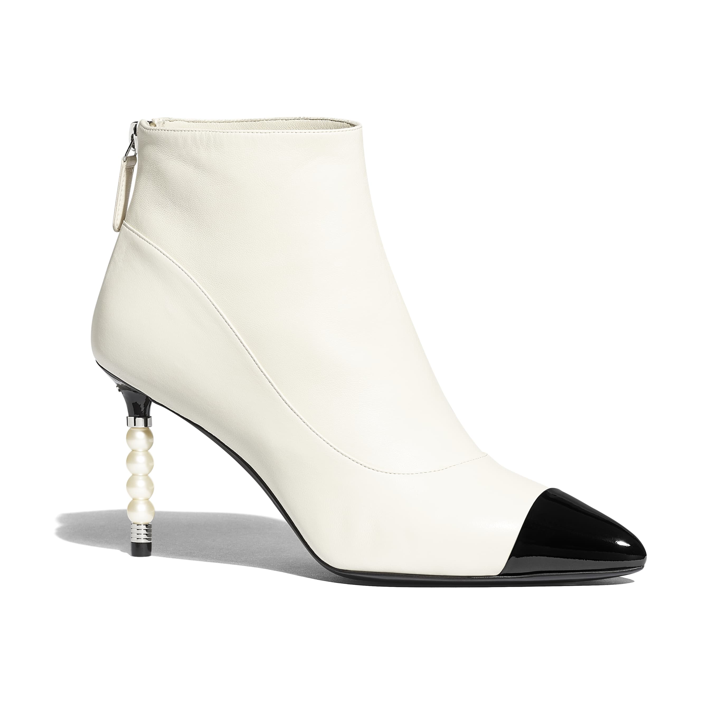 Ankle Boots - Ivory & Black - Lambskin & Patent Calfskin - Default view - see standard sized version