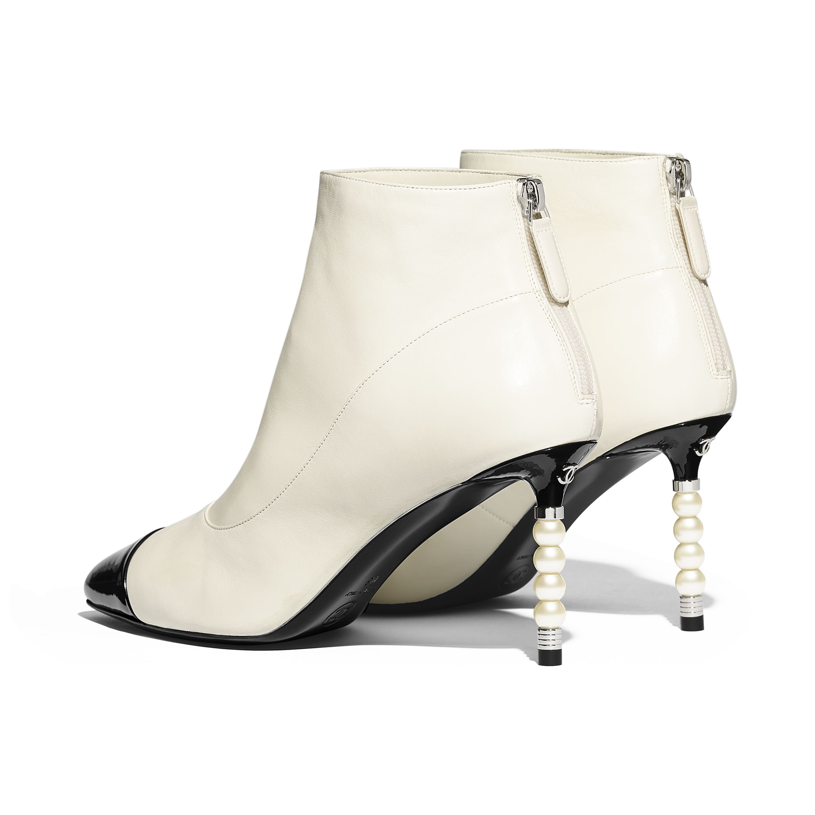 Ankle Boots - Ivory & Black - Lambskin & Patent Calfskin - Other view - see standard sized version