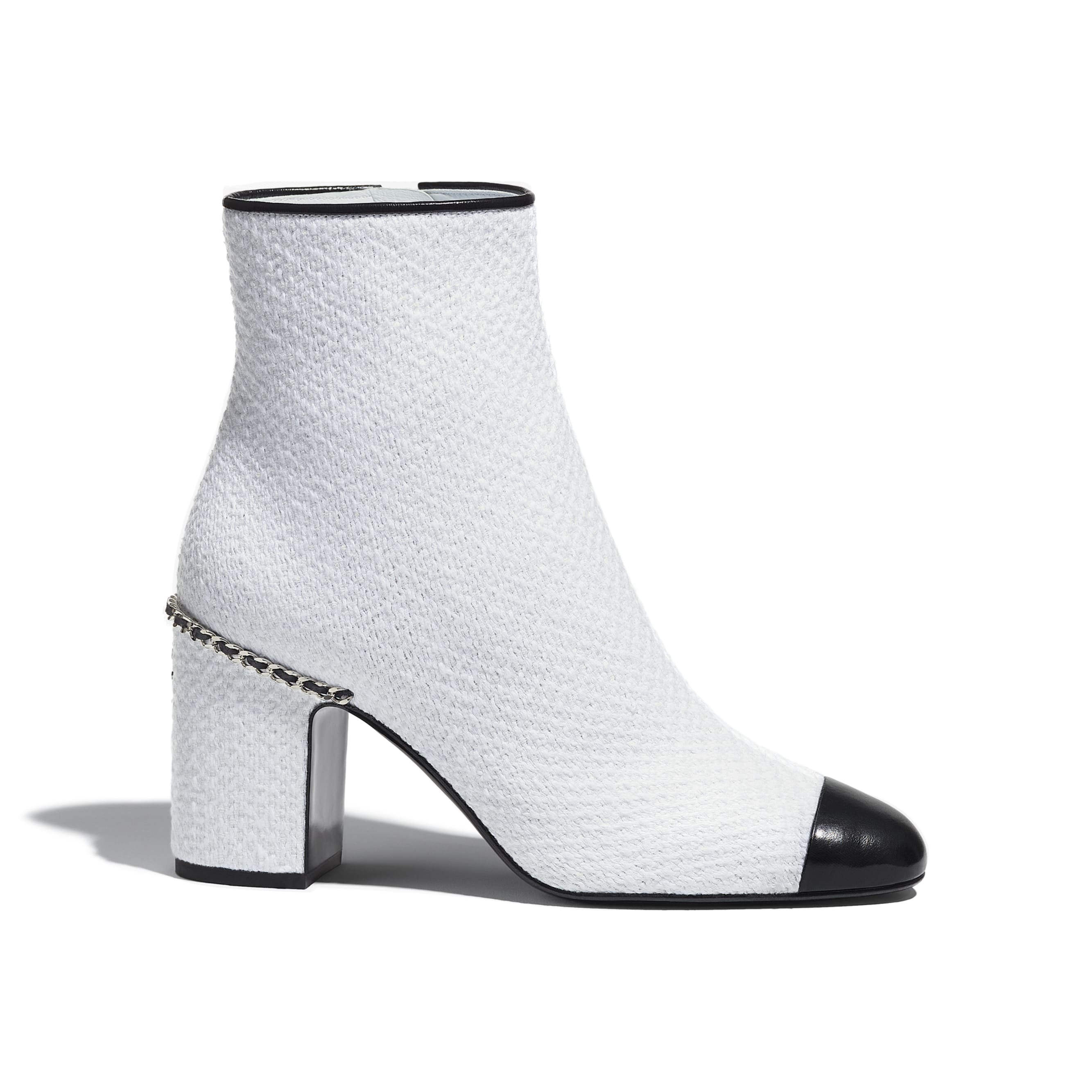 Ankle Boots - Ivory & Black - Tweed & Shiny Calfskin - CHANEL - Default view - see standard sized version