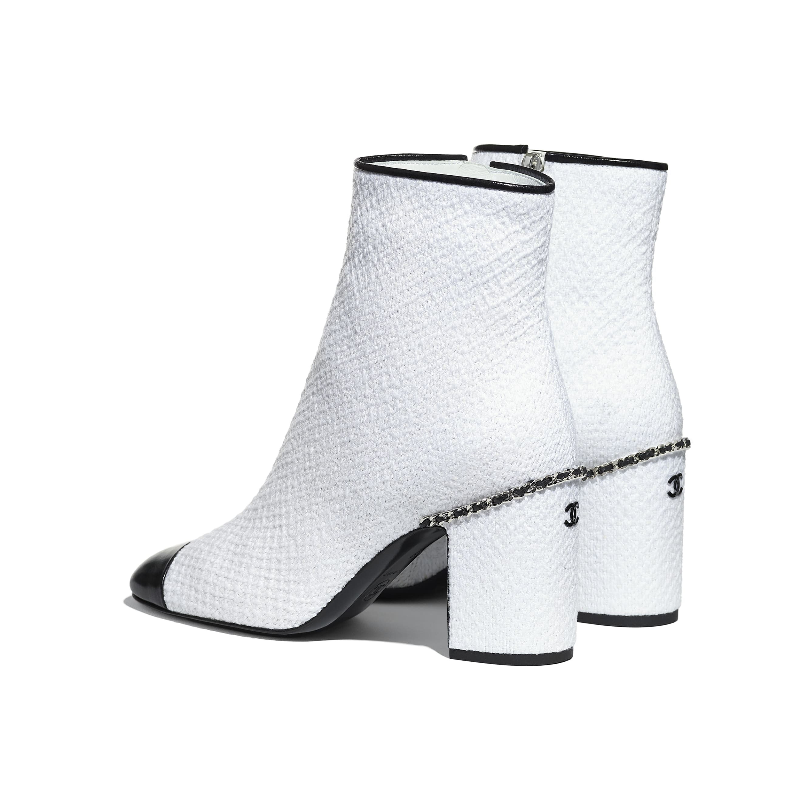 Ankle Boots - Ivory & Black - Tweed & Shiny Calfskin - CHANEL - Other view - see standard sized version
