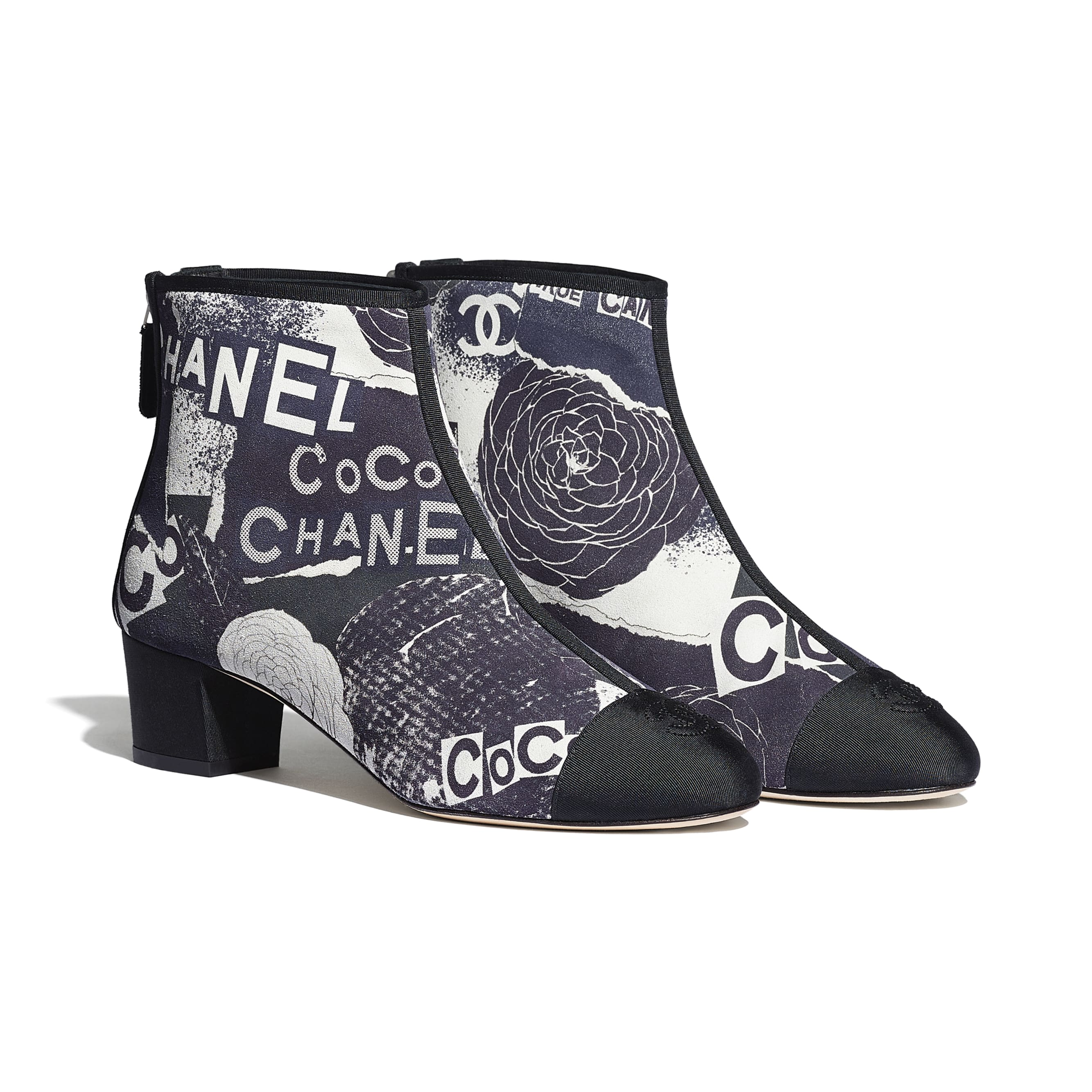 Ankle Boots - Navy Blue, White & Silver - Printed Calfskin & Grosgrain - CHANEL - Alternative view - see standard sized version