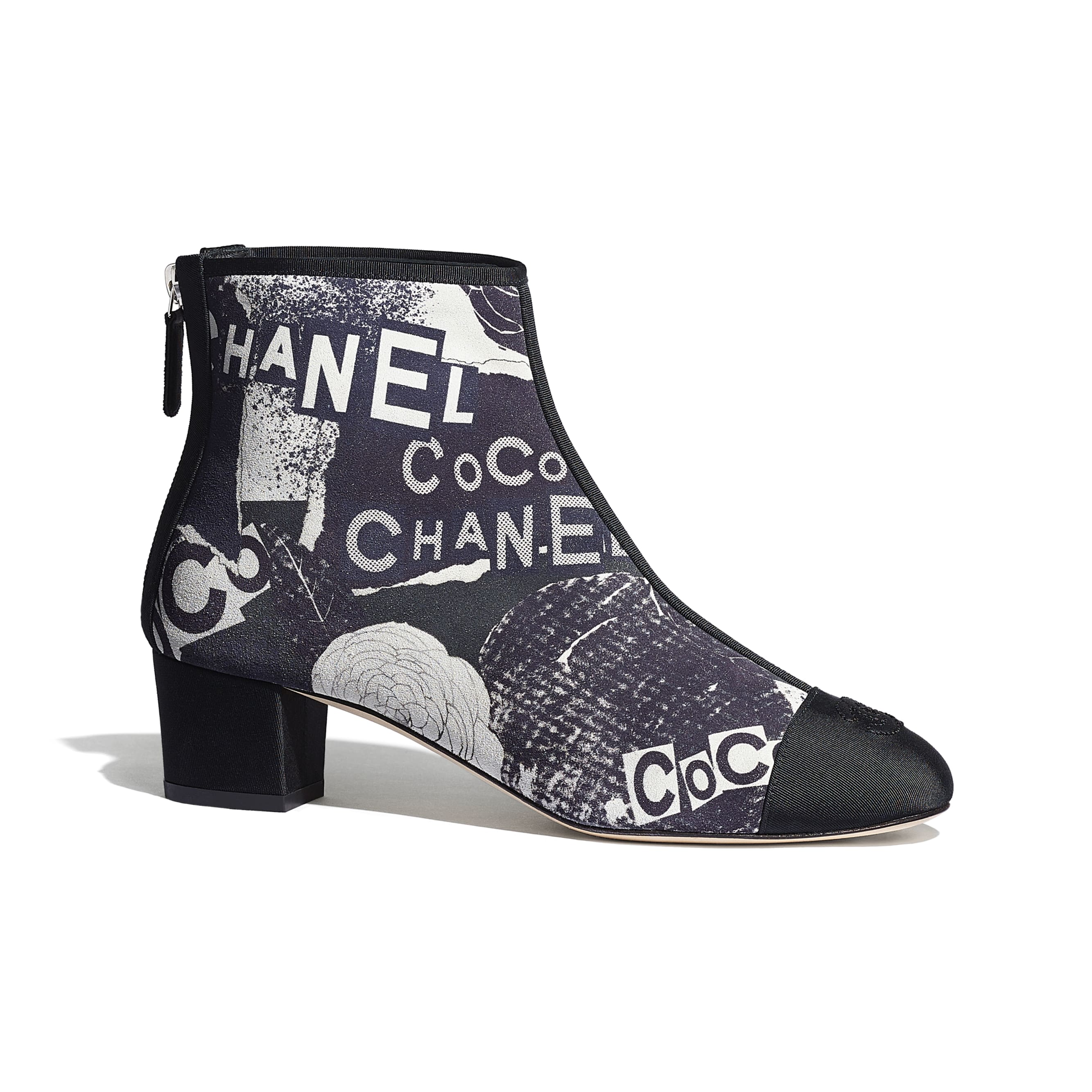Ankle Boots - Navy Blue, White & Silver - Printed Calfskin & Grosgrain - CHANEL - Default view - see standard sized version