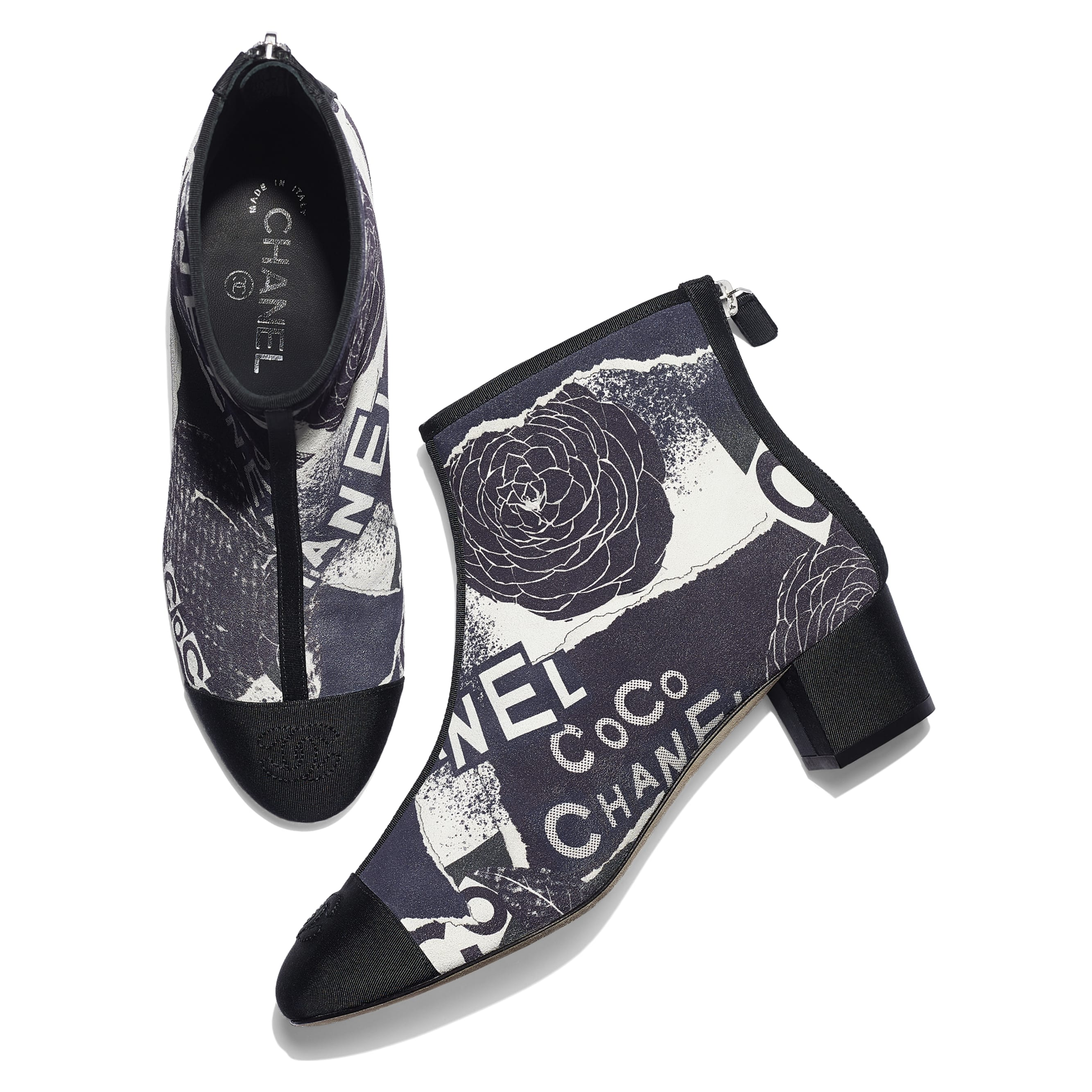 Ankle Boots - Navy Blue, White & Silver - Printed Calfskin & Grosgrain - CHANEL - Extra view - see standard sized version