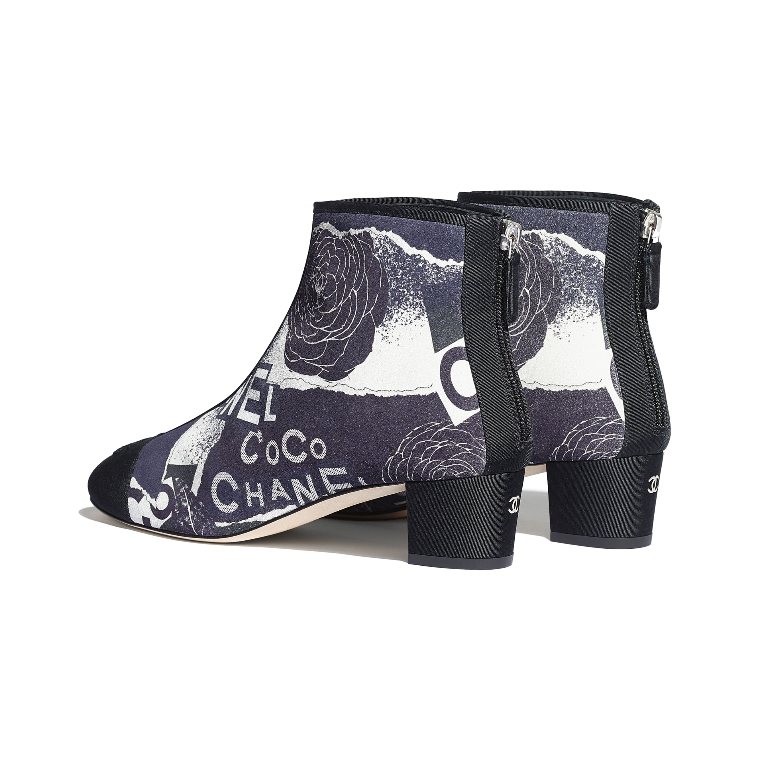 Ankle Boots - Navy Blue, White & Silver - Printed Calfskin & Grosgrain - CHANEL - Other view - see standard sized version