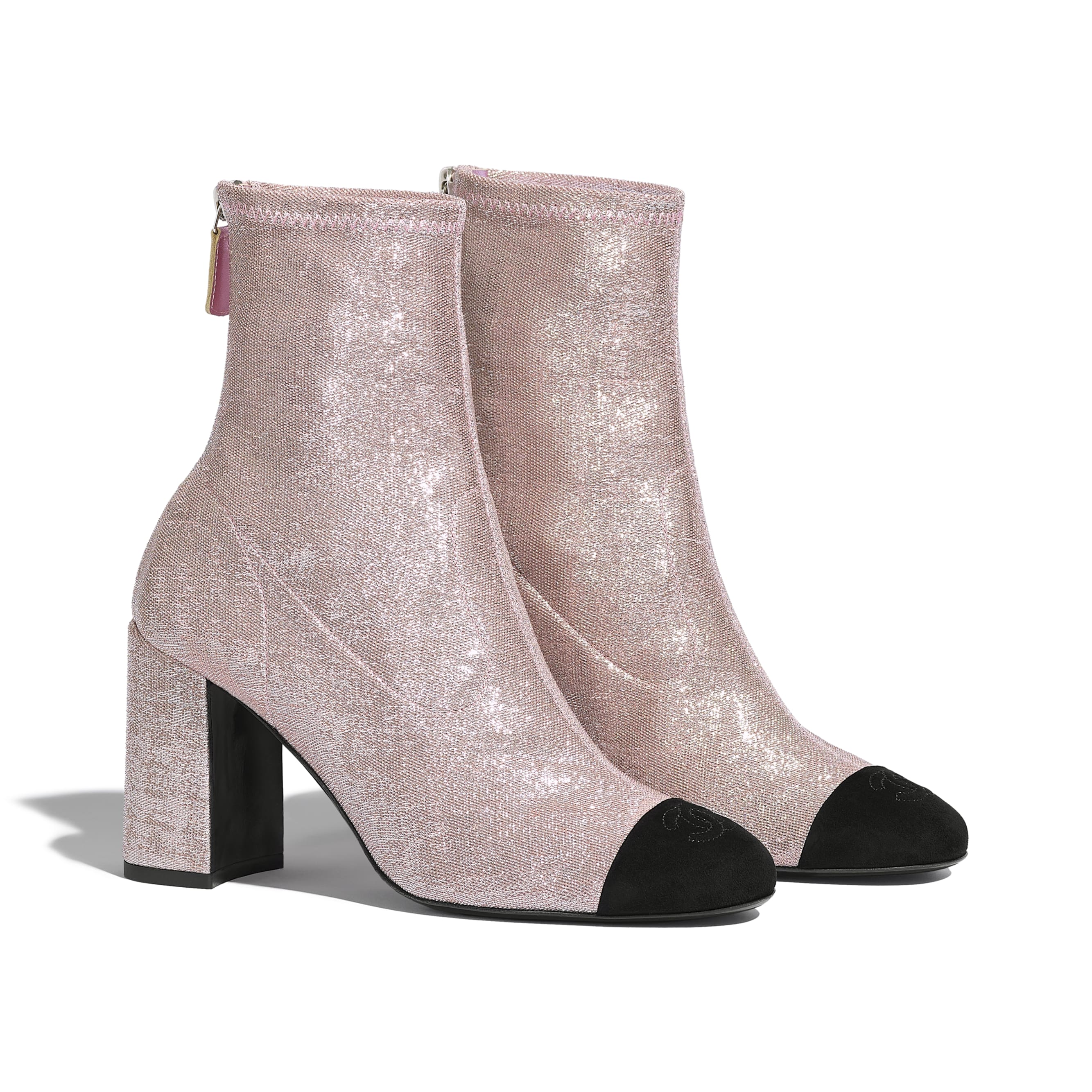 Ankle Boots - Pink & Black - Fabric & Suede Kidskin - CHANEL - Alternative view - see standard sized version