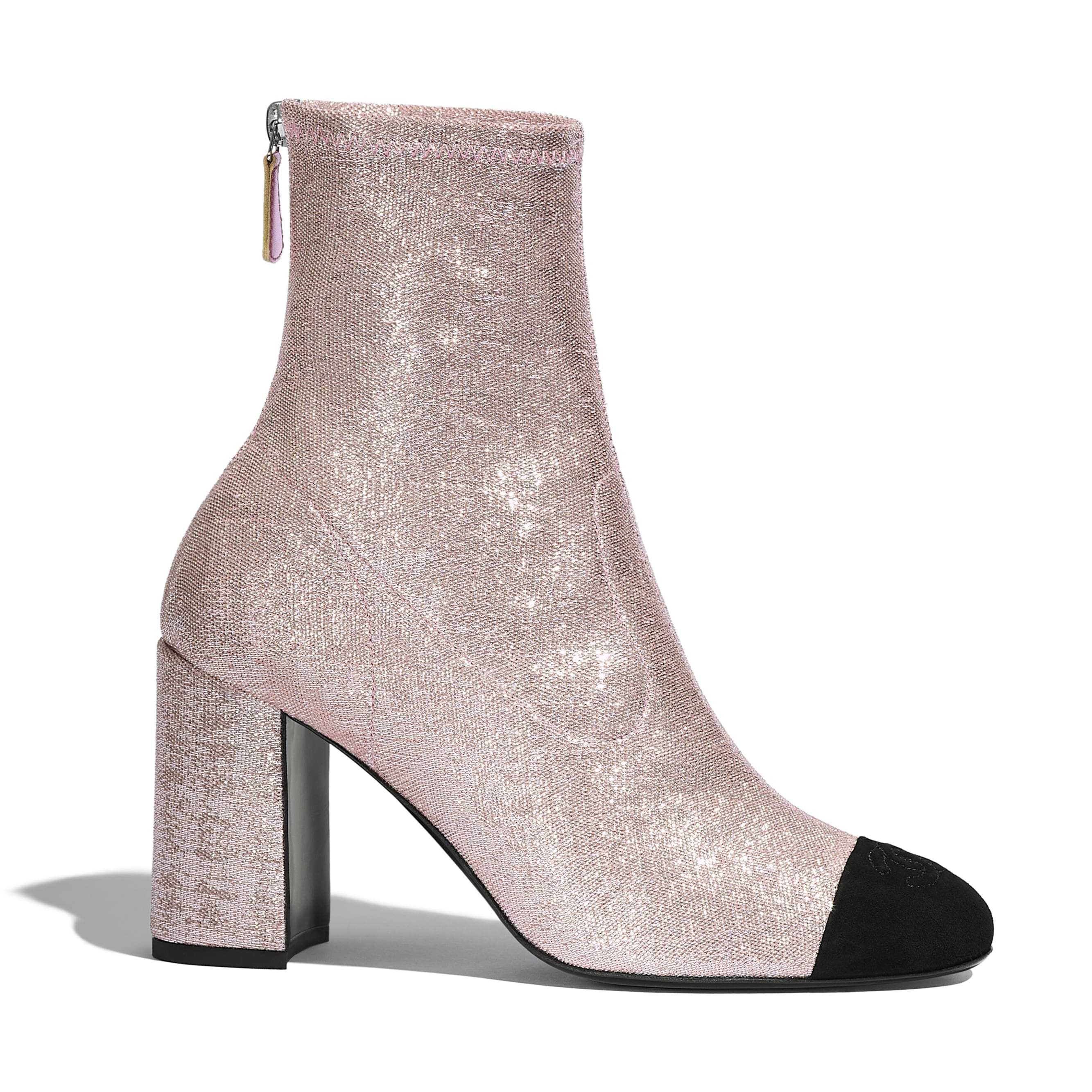 Ankle Boots - Pink & Black - Fabric & Suede Kidskin - CHANEL - Default view - see standard sized version