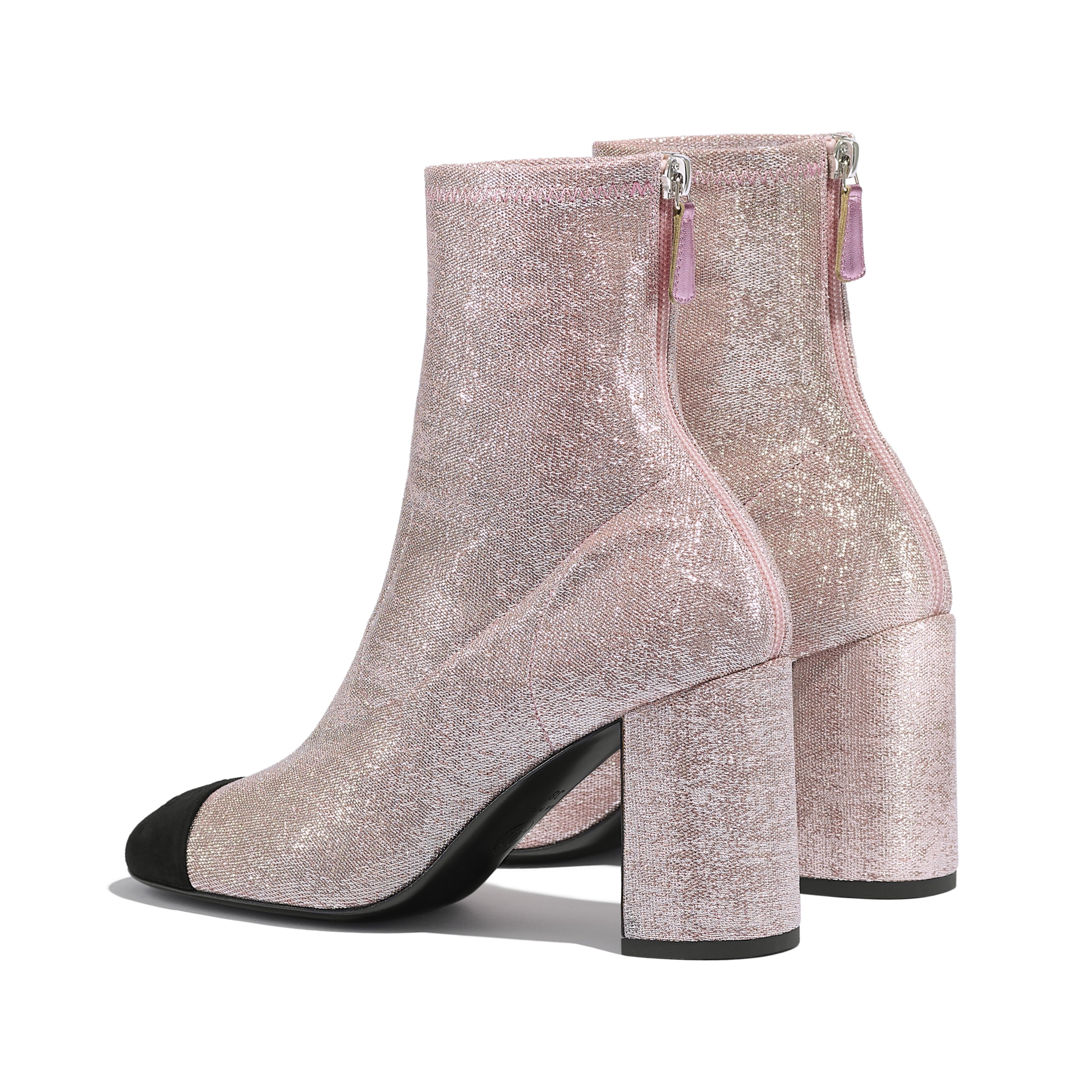 Ankle Boots - Pink & Black - Fabric & Suede Kidskin - CHANEL - Other view - see standard sized version