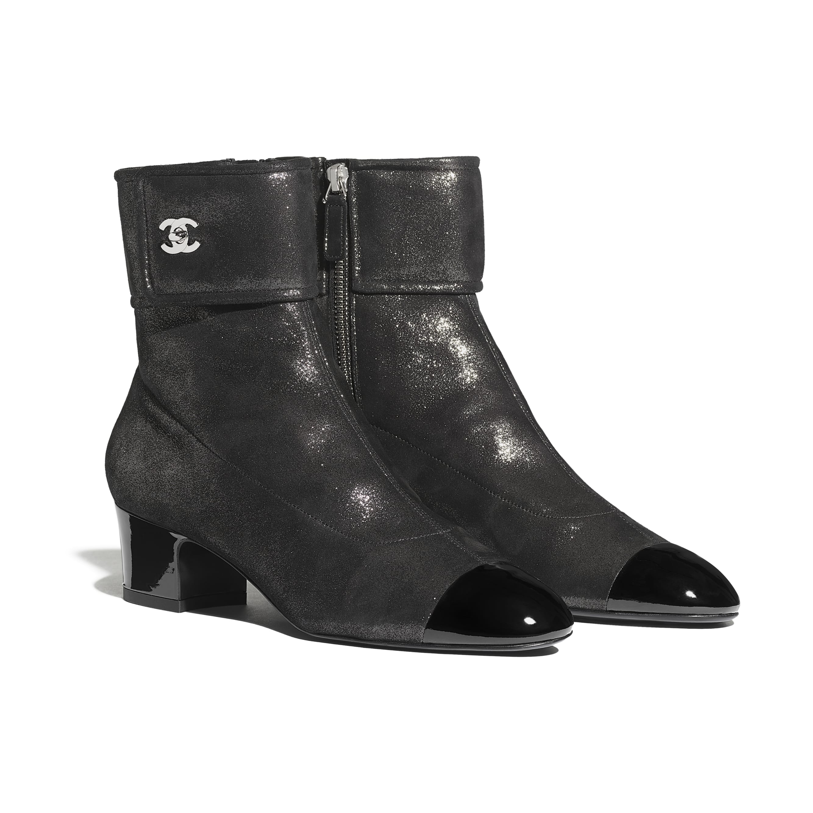 Ankle Boots - Silver & Black - Lambskin & Patent Calfskin - CHANEL - Alternative view - see standard sized version