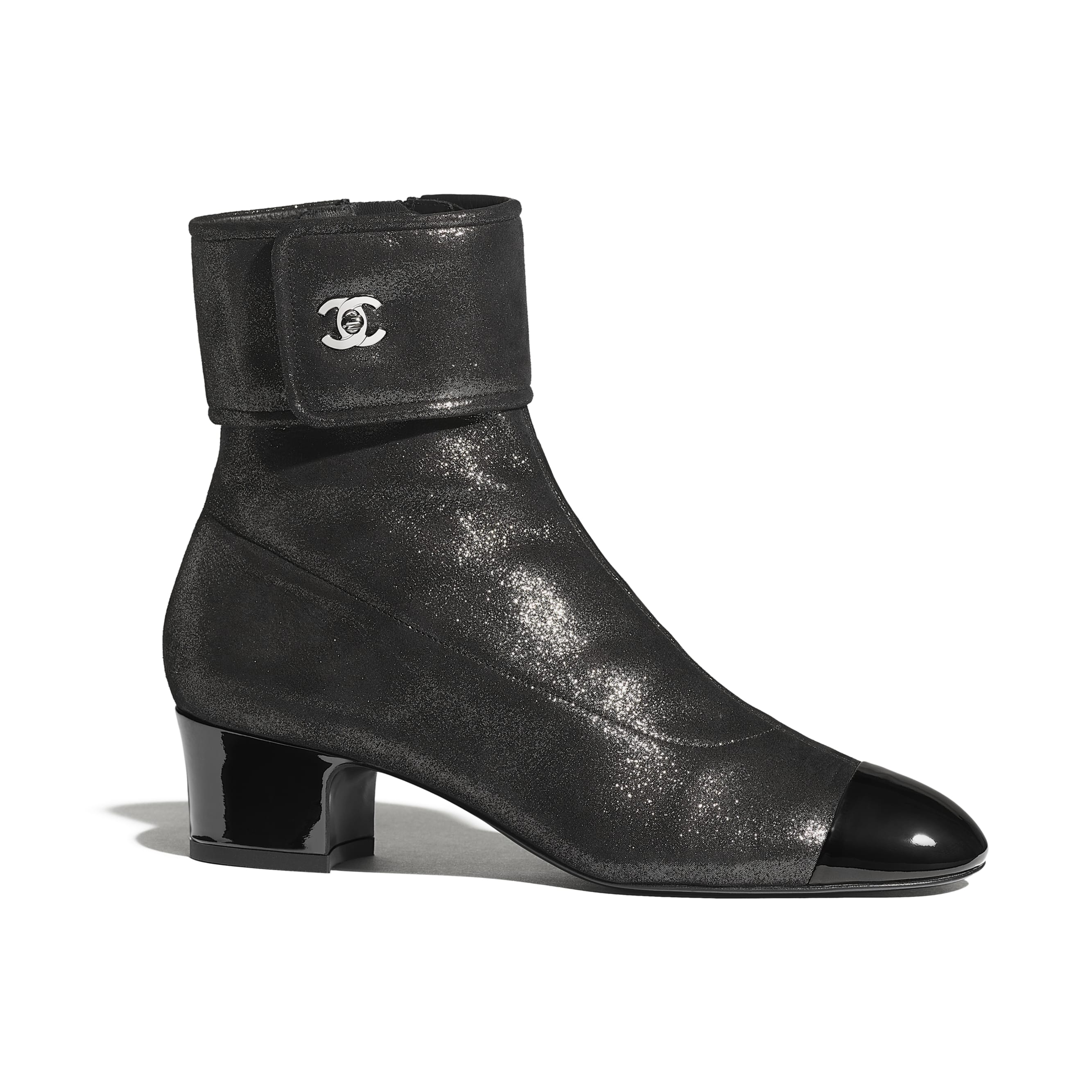 Ankle Boots - Silver & Black - Lambskin & Patent Calfskin - CHANEL - Default view - see standard sized version