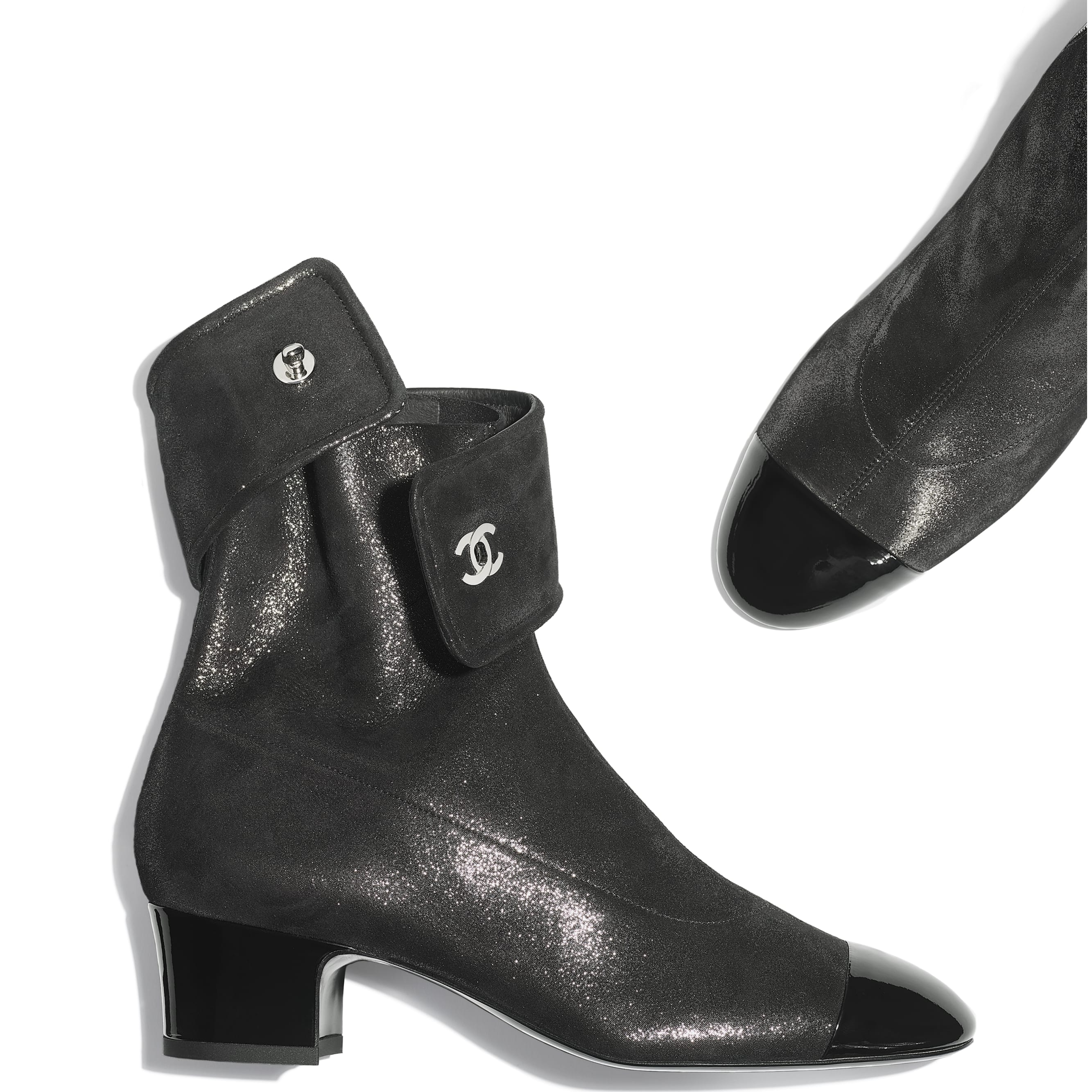 Ankle Boots - Silver & Black - Lambskin & Patent Calfskin - CHANEL - Extra view - see standard sized version