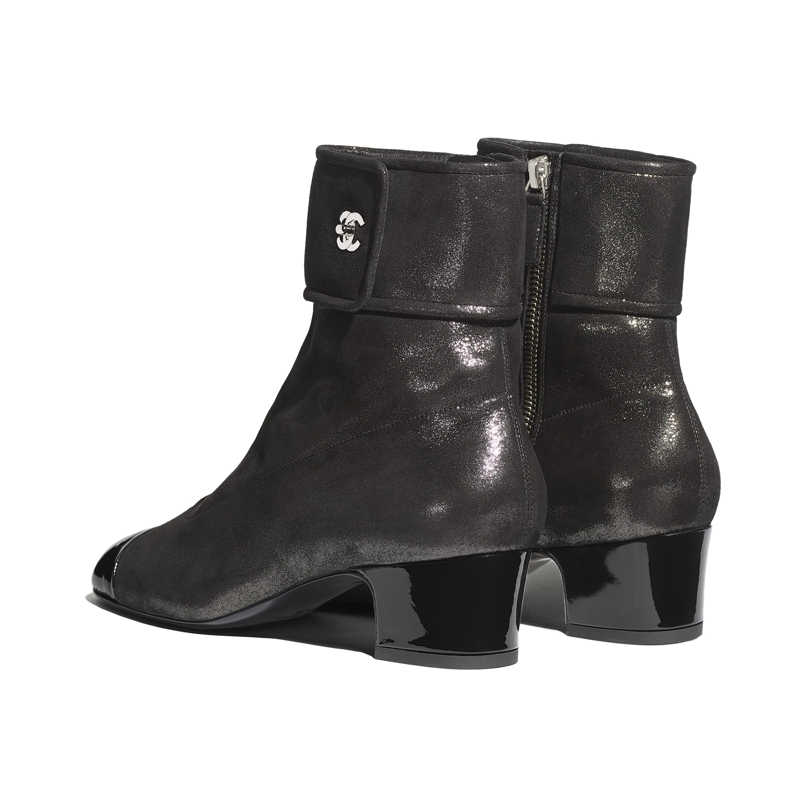 Ankle Boots - Silver & Black - Lambskin & Patent Calfskin - CHANEL - Other view - see standard sized version