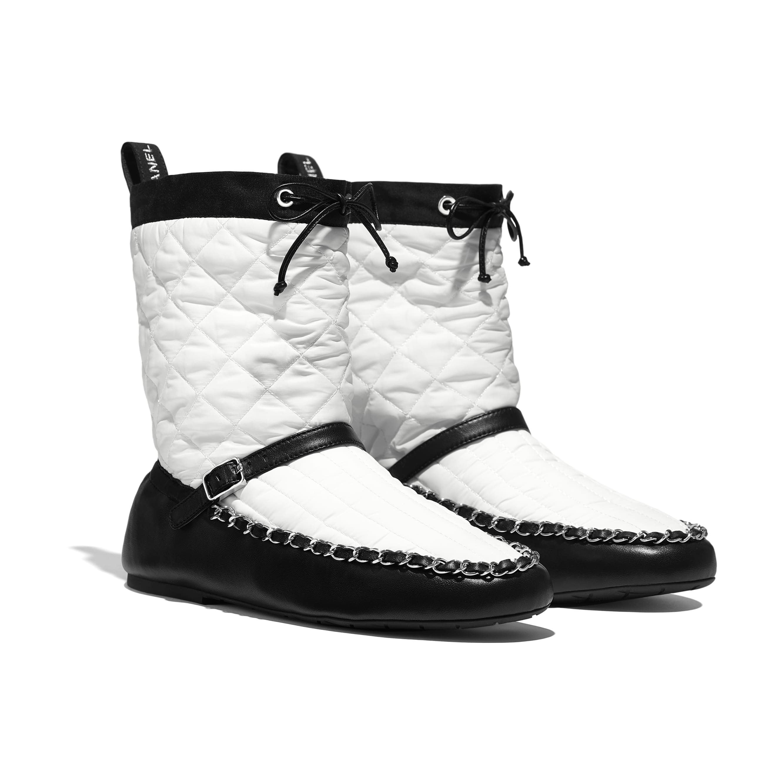 Ankle Boots - White & Black - Fabric & Lambskin - Alternative view - see standard sized version