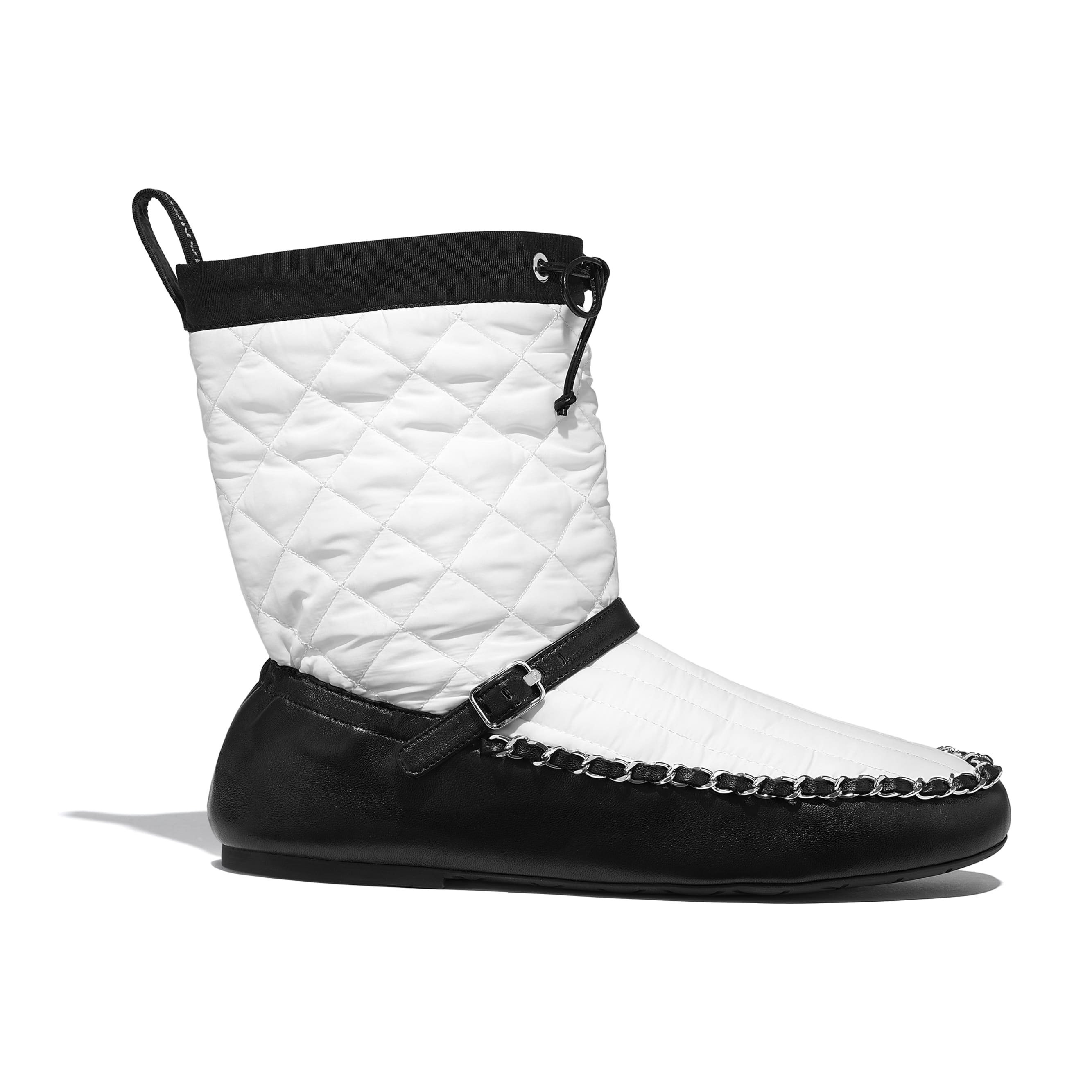 Ankle Boots - White & Black - Fabric & Lambskin - Default view - see standard sized version