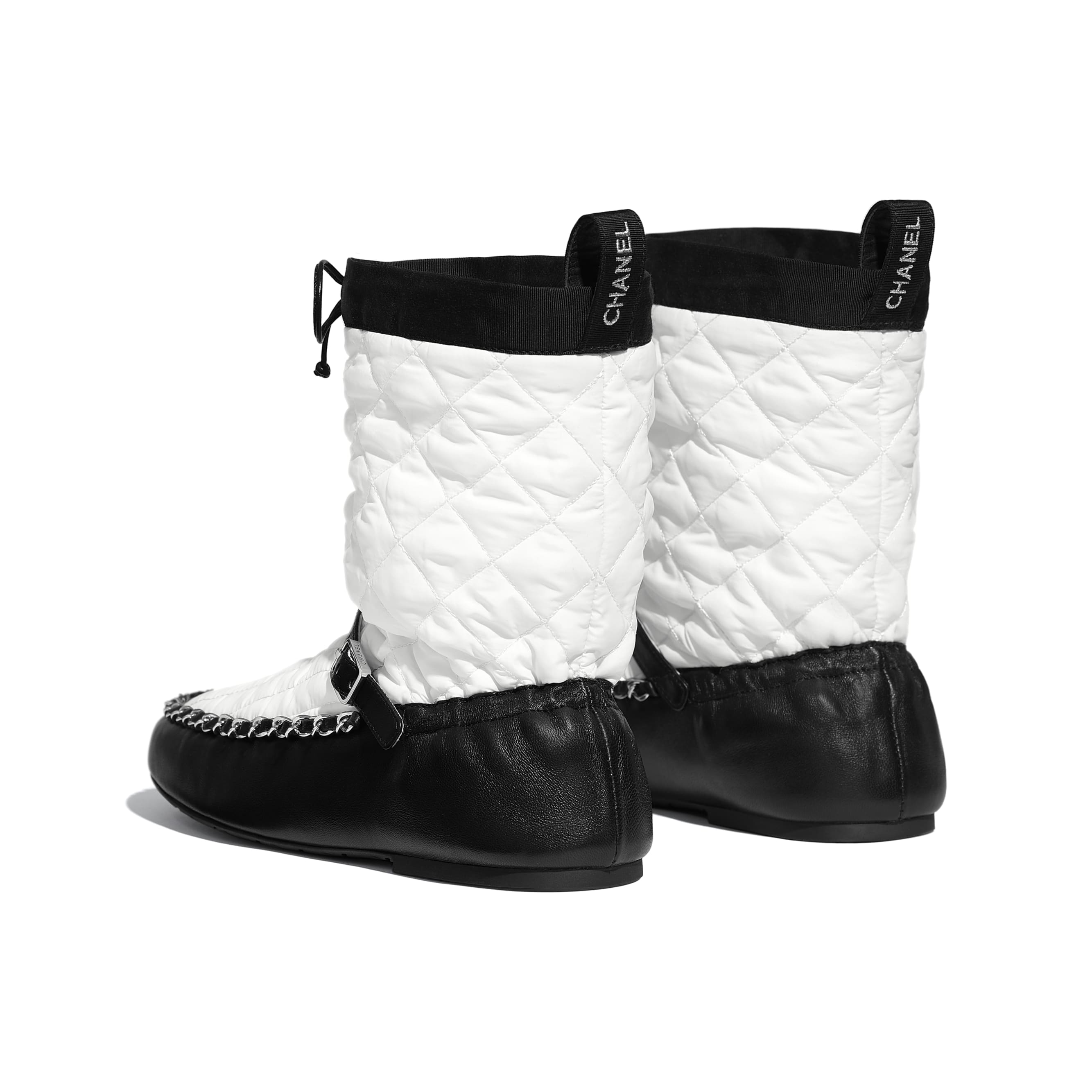 Ankle Boots - White & Black - Fabric & Lambskin - Other view - see standard sized version