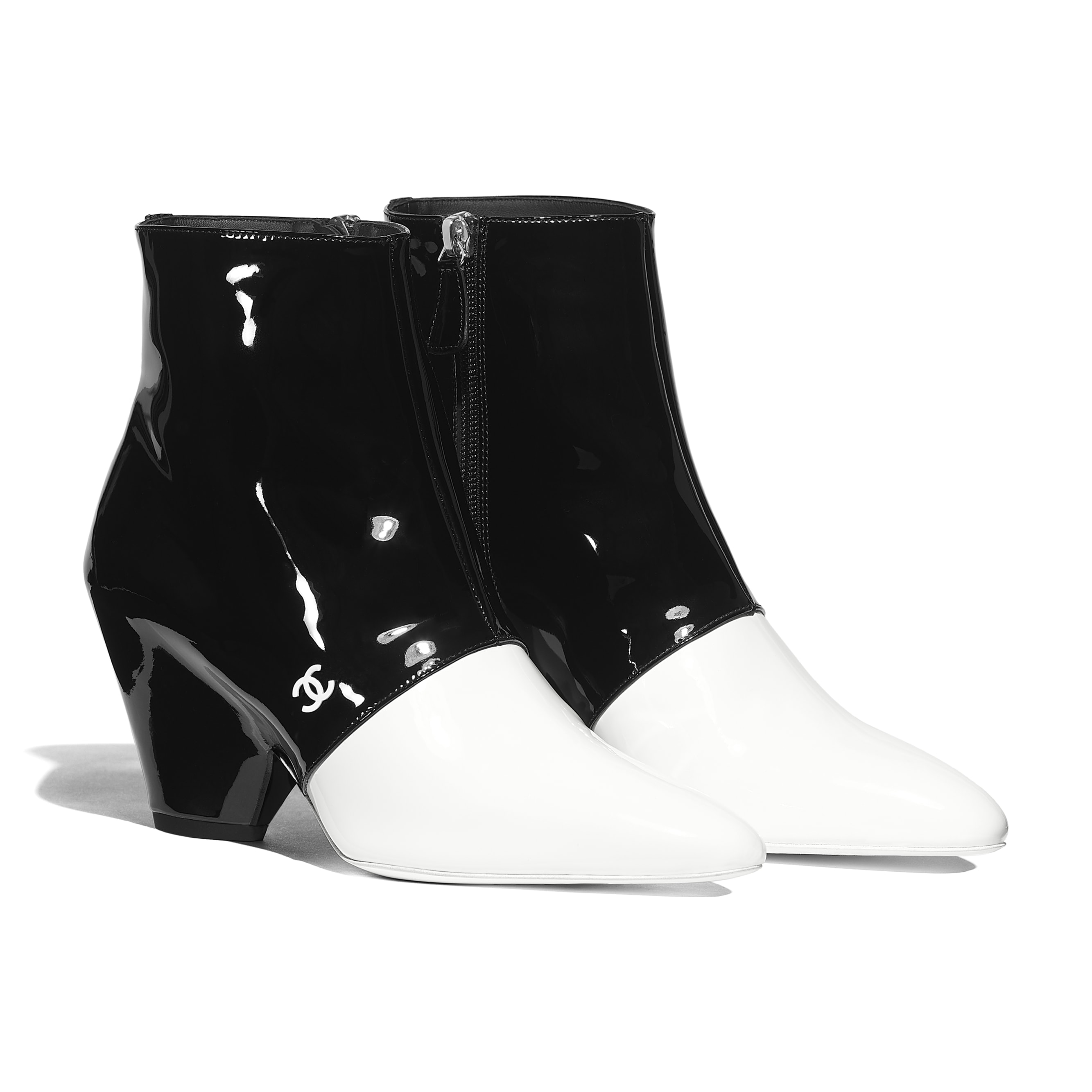 Ankle Boots - White & Black - Patent Calfskin - Alternative view - see standard sized version