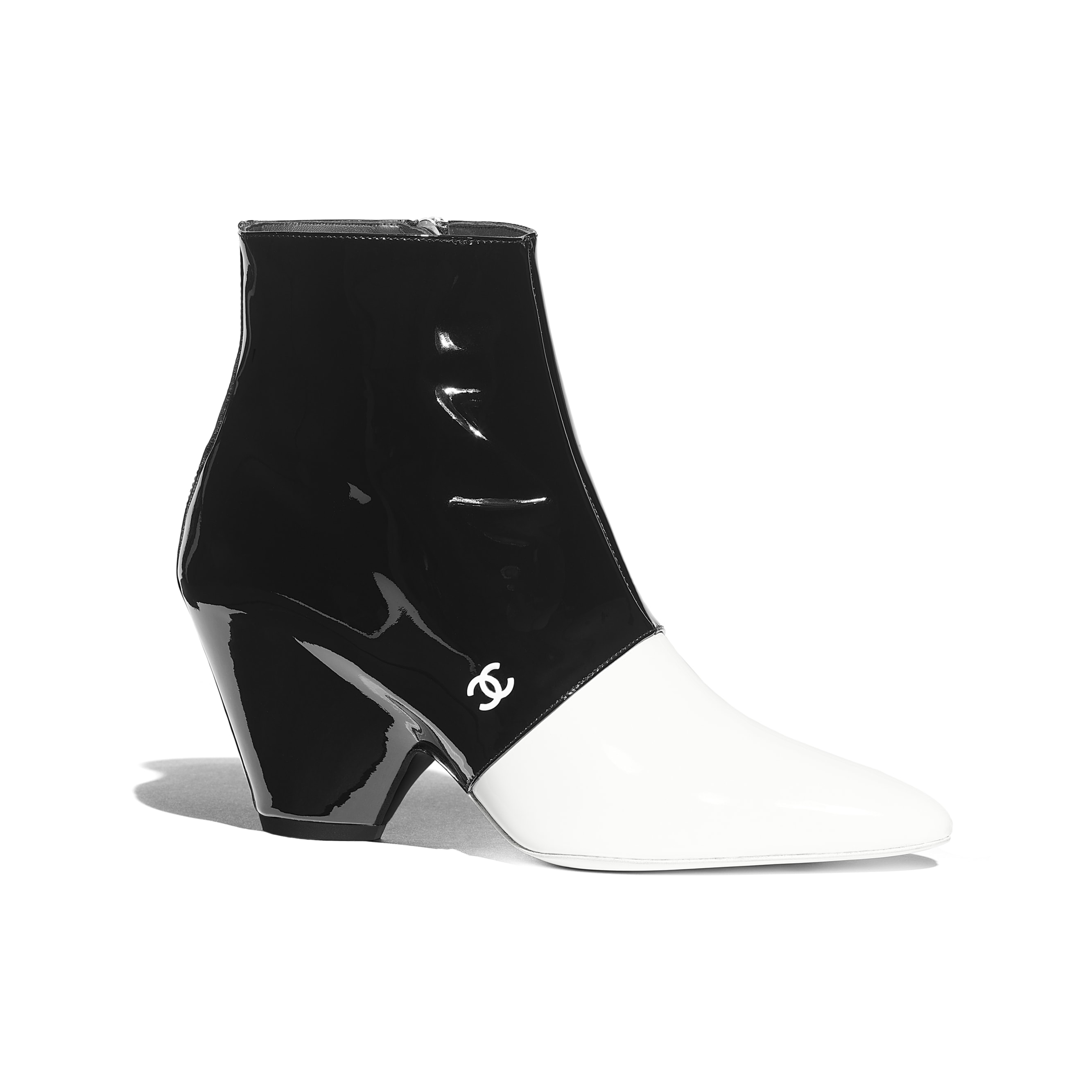 Ankle Boots - White & Black - Patent Calfskin - Default view - see standard sized version