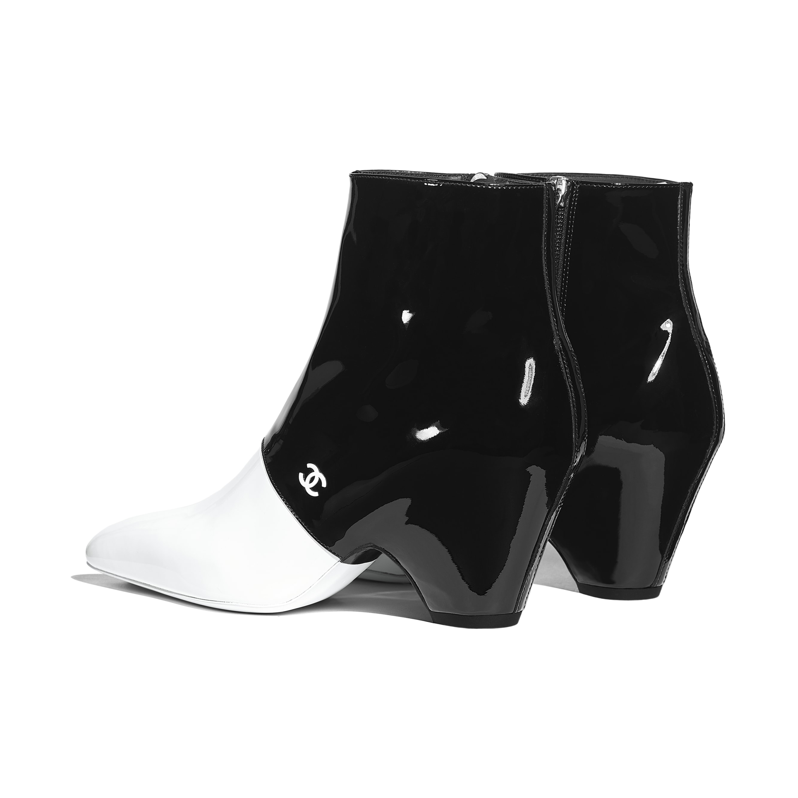 Ankle Boots - White & Black - Patent Calfskin - Other view - see standard sized version