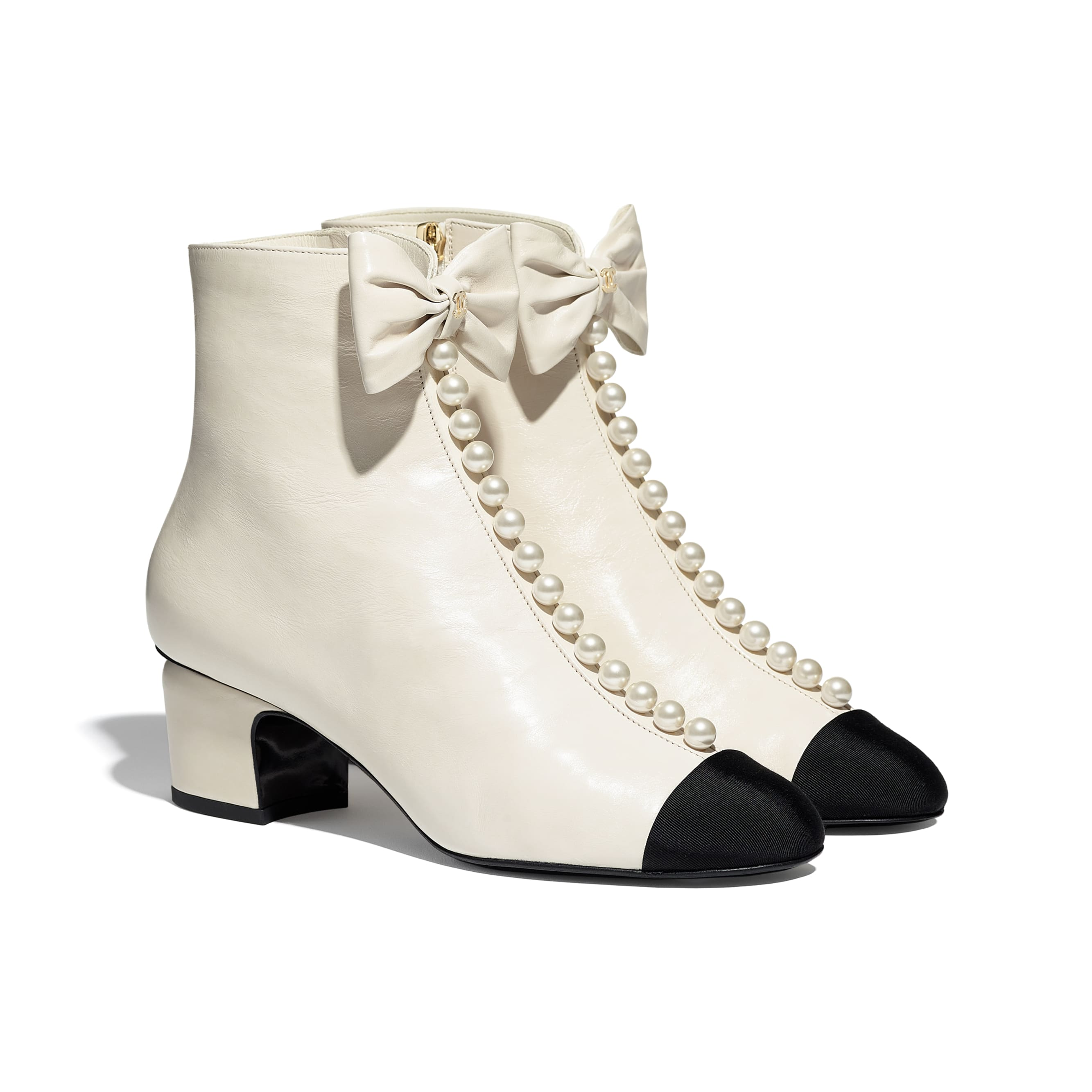 Ankle Boots - White & Black - Shiny Calfskin & Grosgrain  - CHANEL - Alternative view - see standard sized version