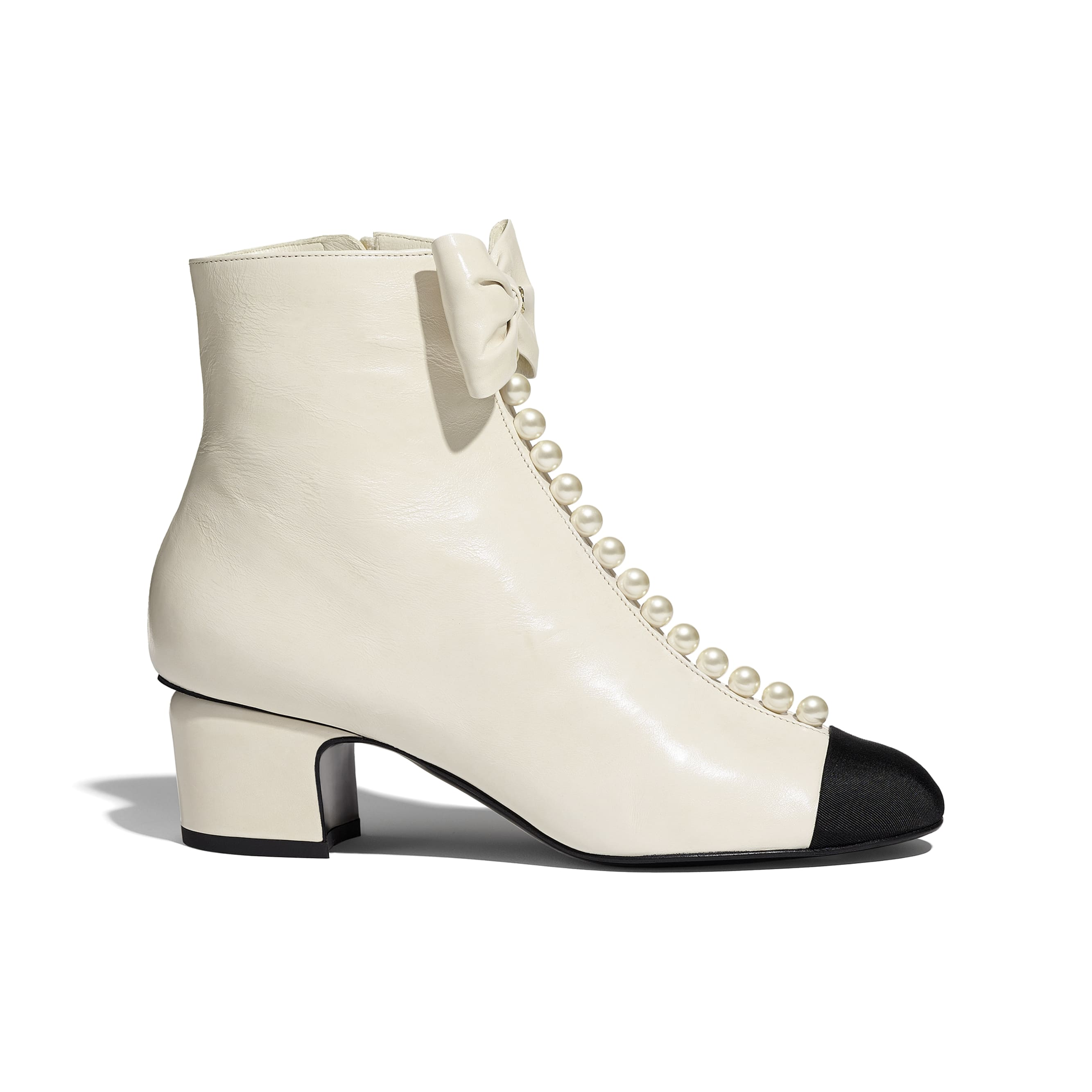 Ankle Boots - White & Black - Shiny Calfskin & Grosgrain  - CHANEL - Default view - see standard sized version