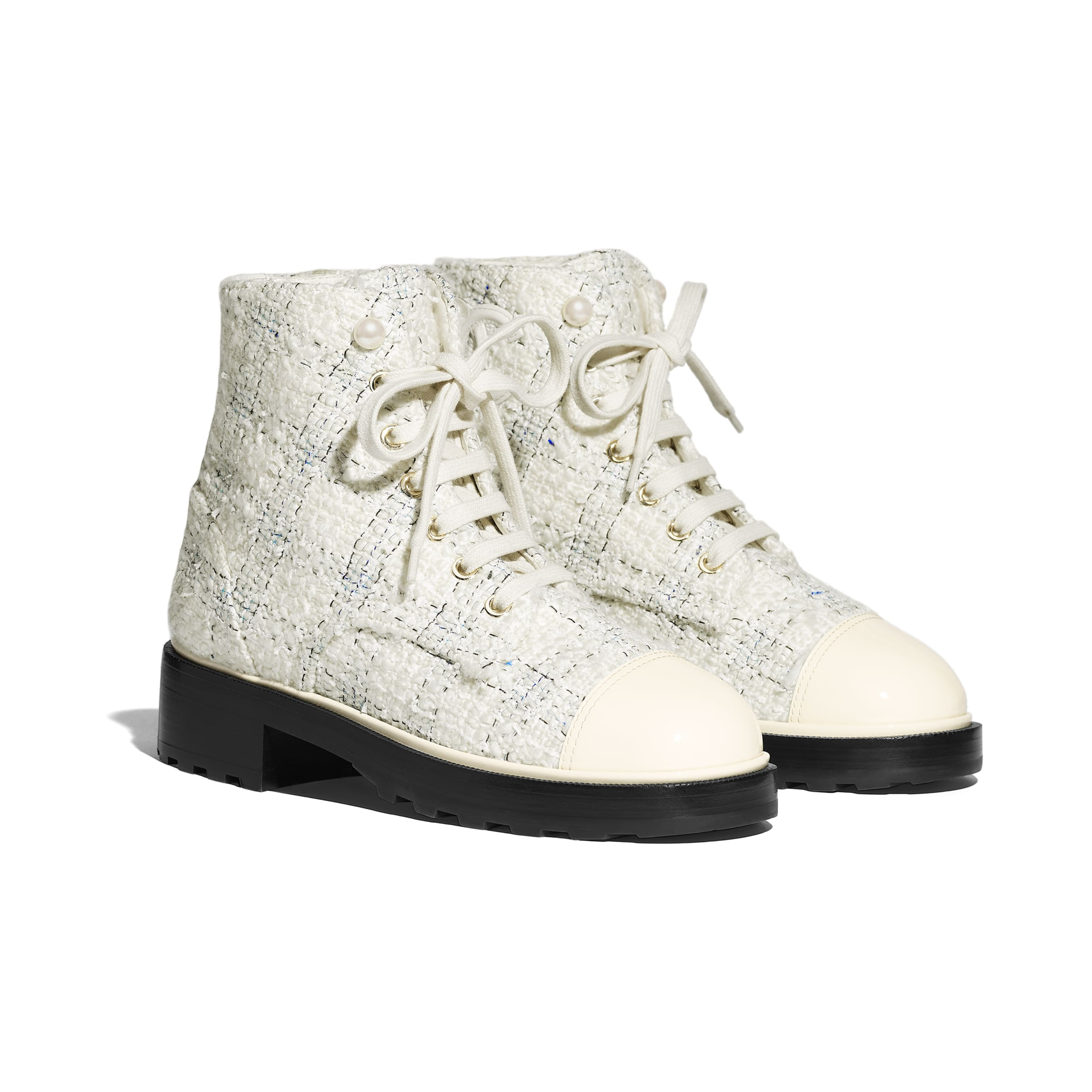 Ankle Boots - White & Black - Tweed & Calfskin - Alternative view - see standard sized version