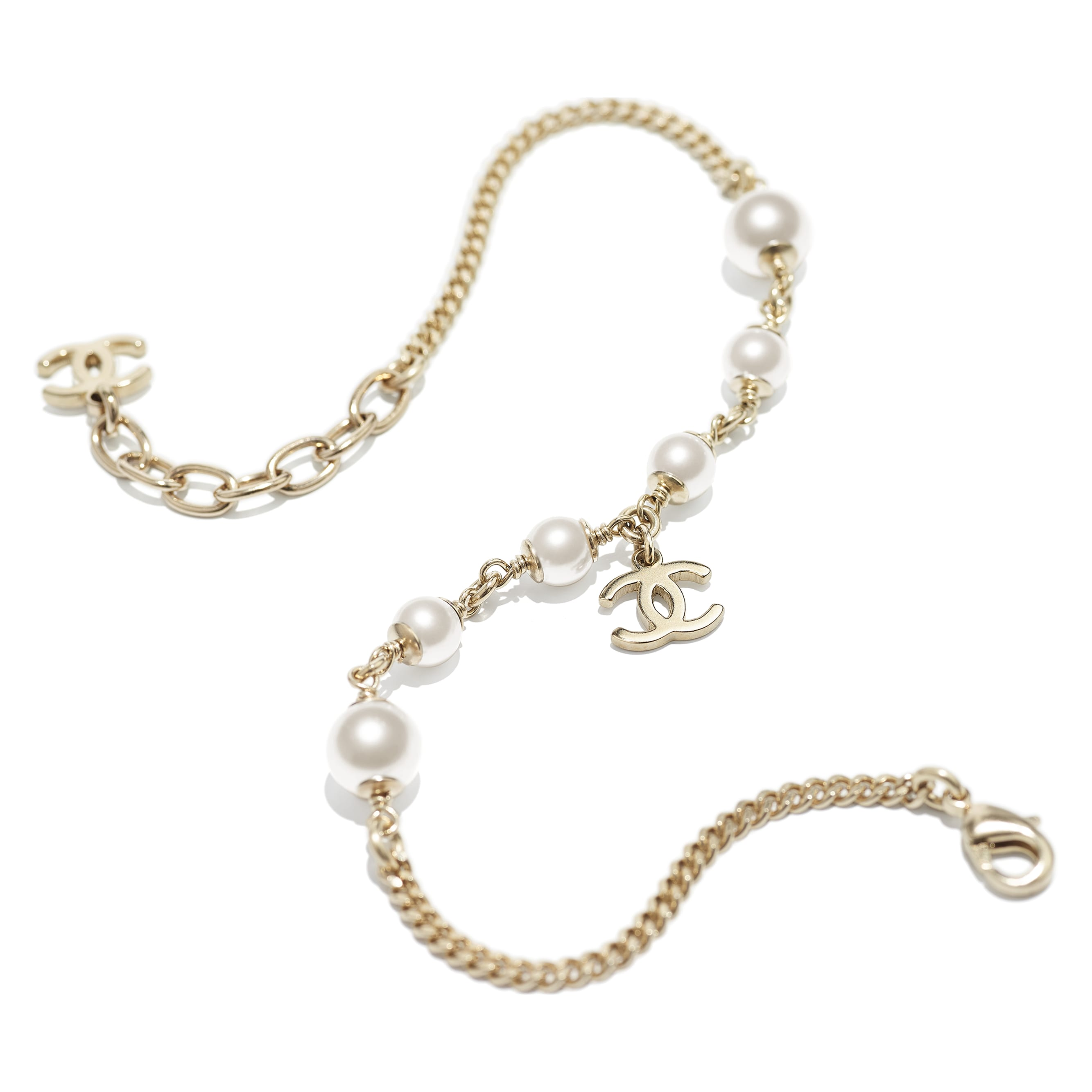 Anklet - Gold & Pearly White - Metal & Glass Pearls - CHANEL - Alternative view - see standard sized version