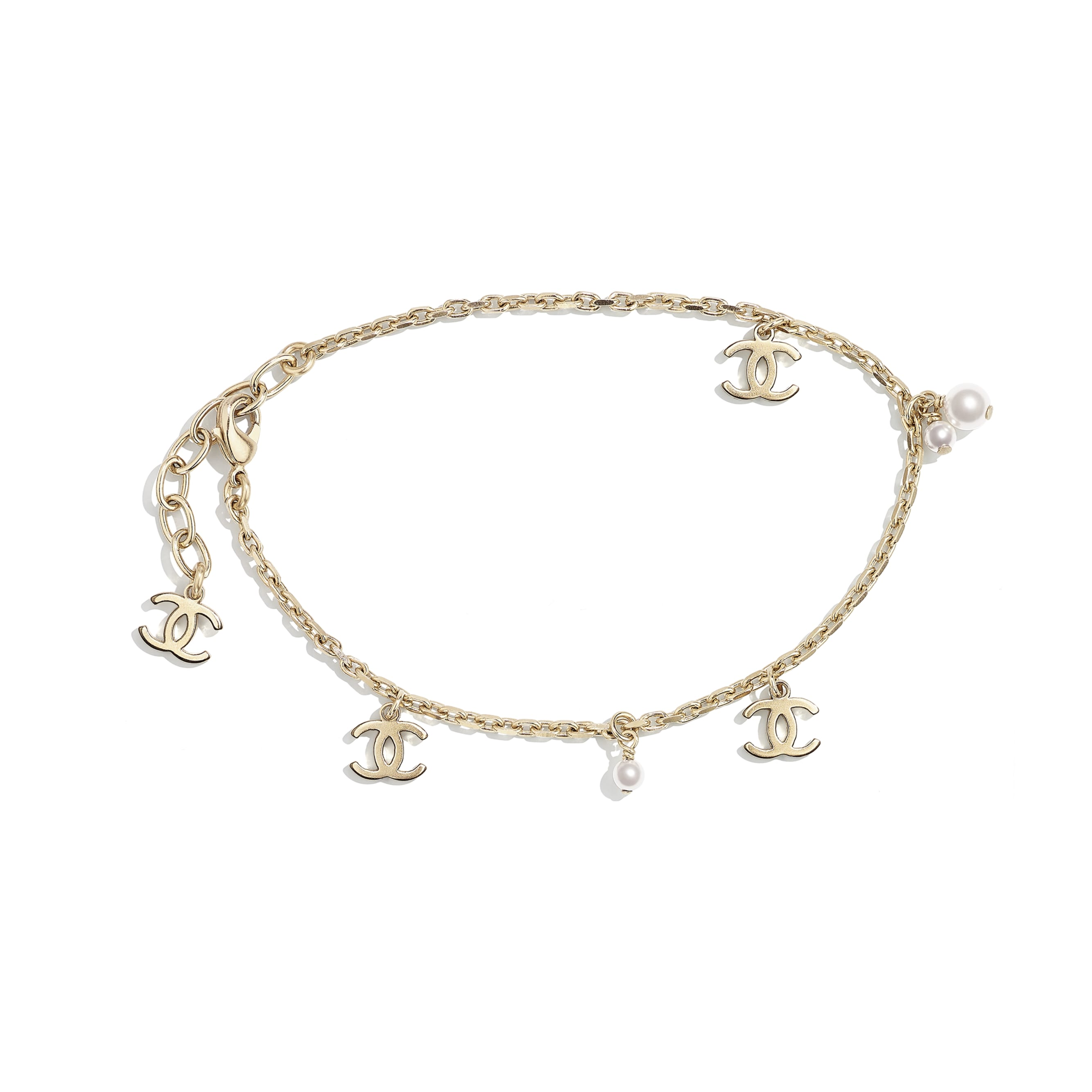 Anklet - Gold & Pearly White - Metal & Glass Pearls - CHANEL - Default view - see standard sized version