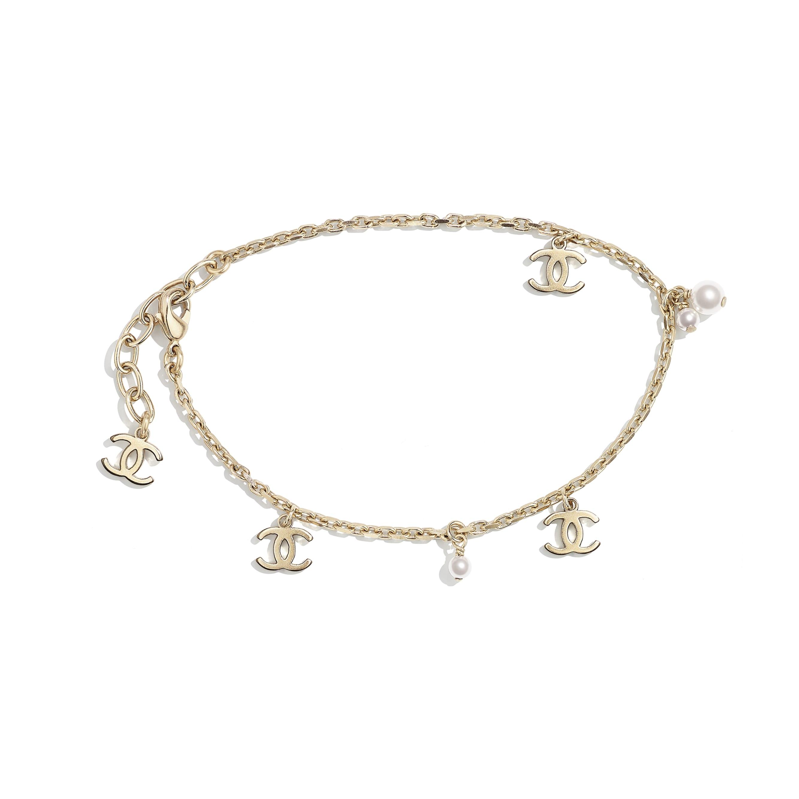 Bracelet de cheville - Doré & blanc nacré - Métal & perles de verre - CHANEL - Vue par défaut - voir la version taille standard