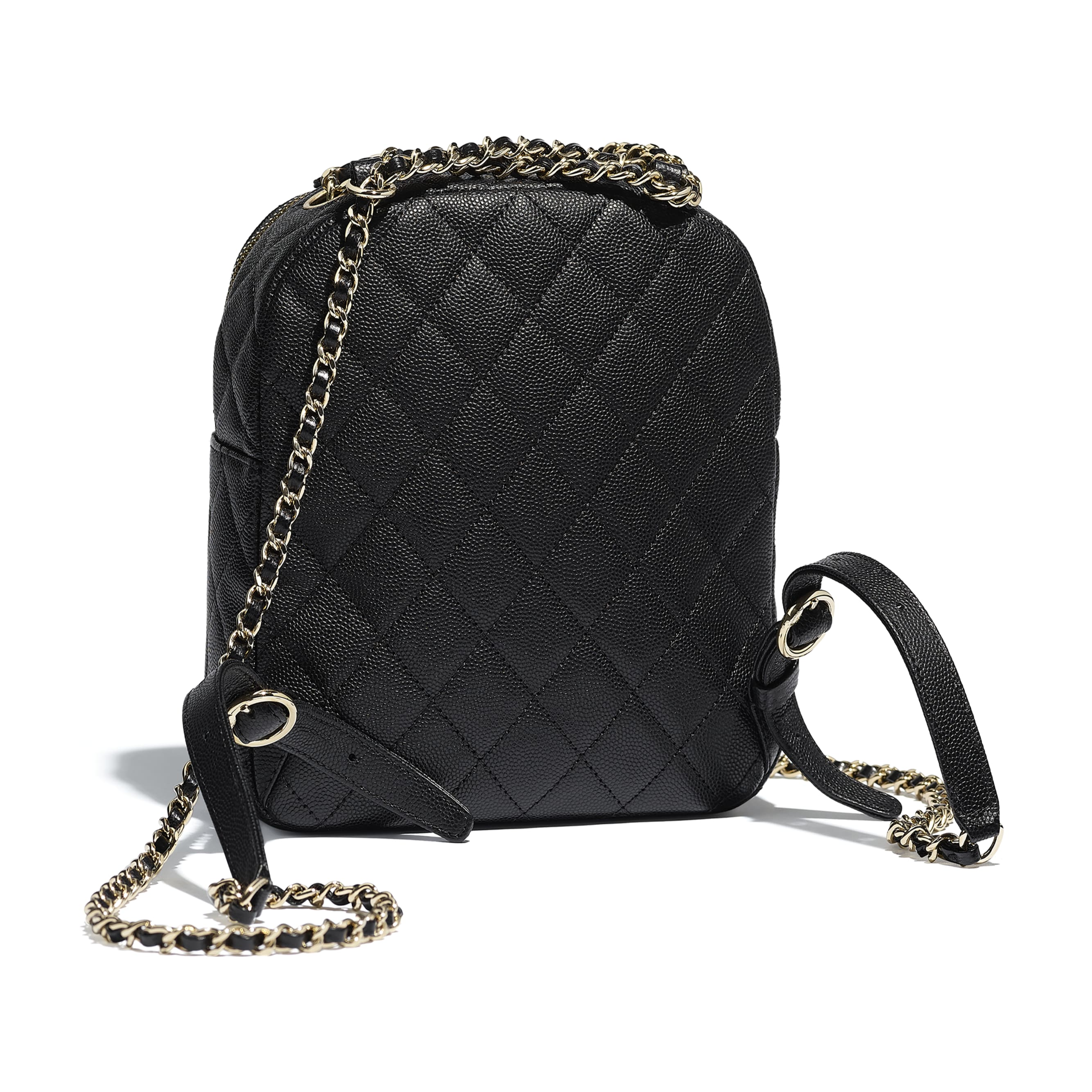 Backpack - Black - Grained Calfskin & Gold-Tone Metal - Alternative view - see standard sized version