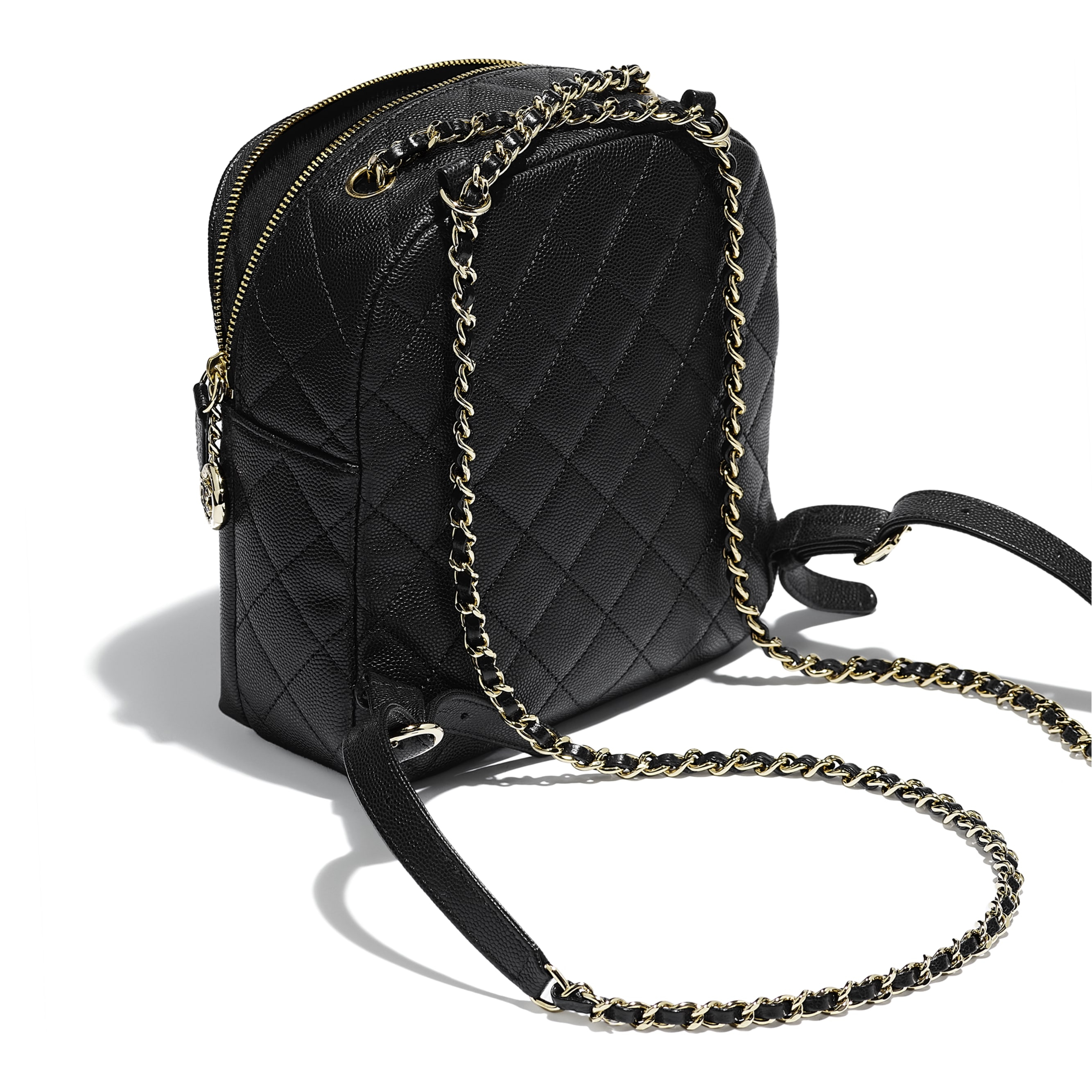Backpack - Black - Grained Calfskin & Gold-Tone Metal - Other view - see standard sized version