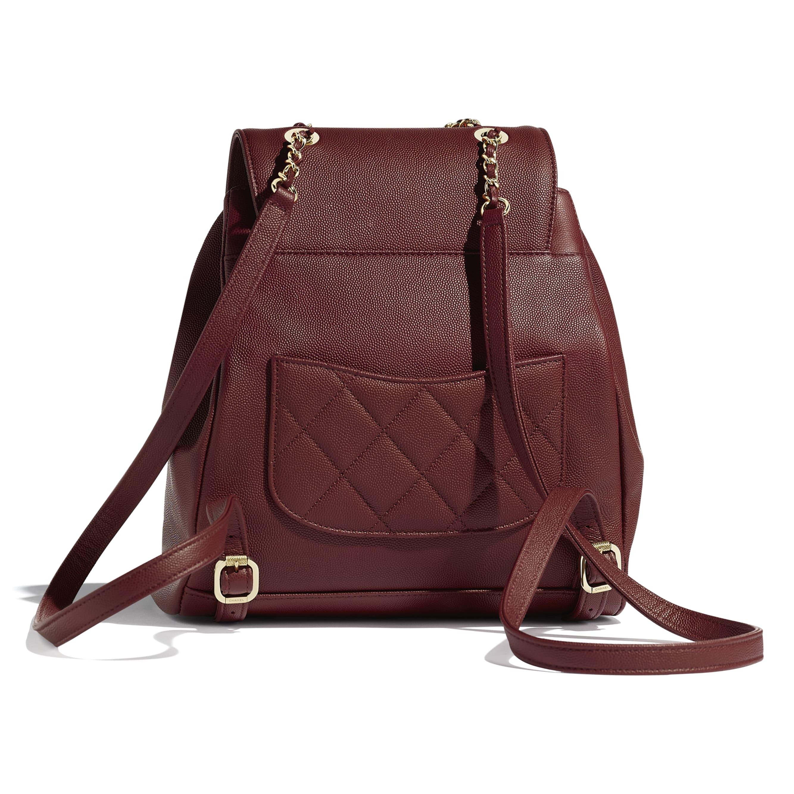 Backpack - Burgundy - Grained Calfskin & Gold-Tone Metal - Alternative view - see standard sized version