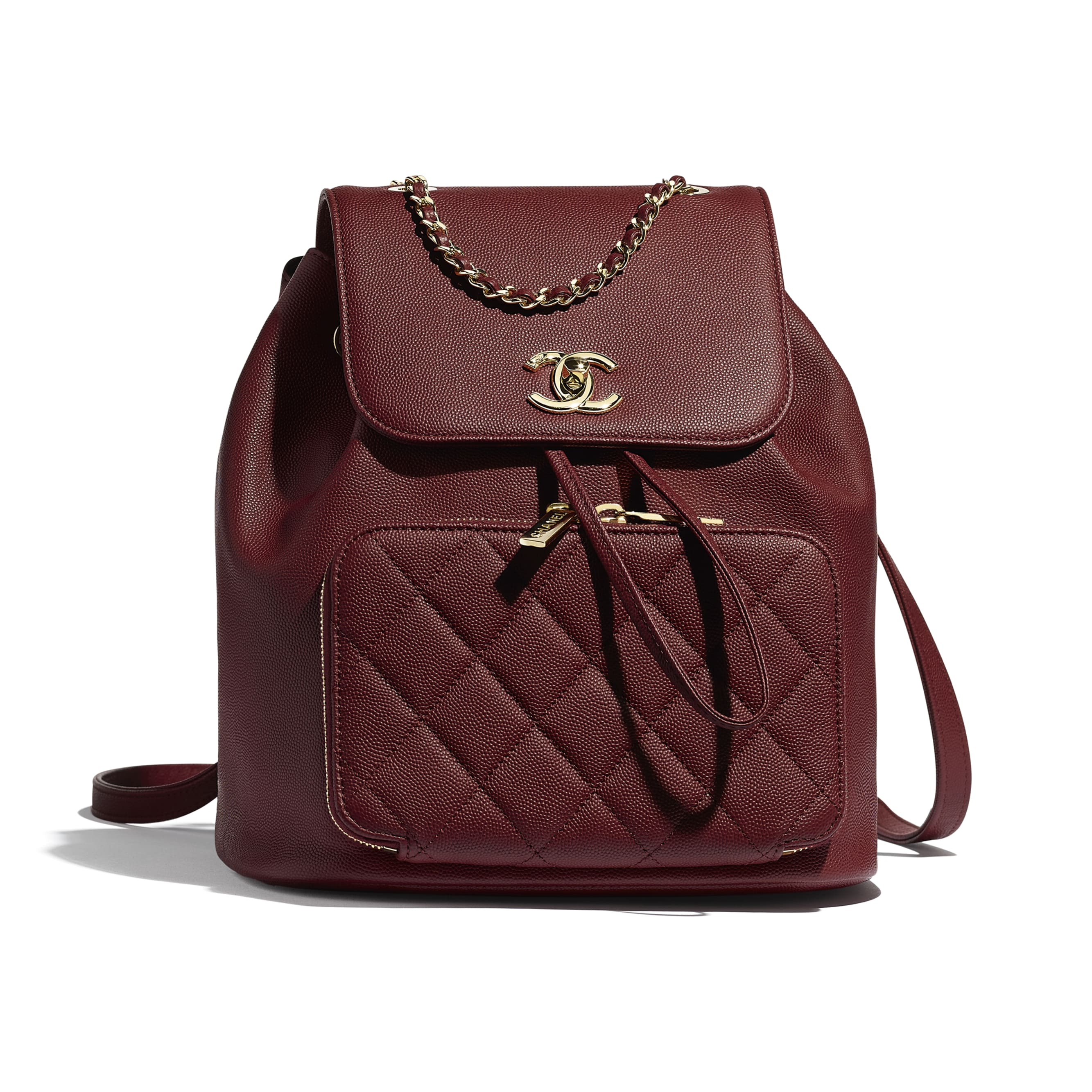 Backpack - Burgundy - Grained Calfskin & Gold-Tone Metal - Default view - see standard sized version