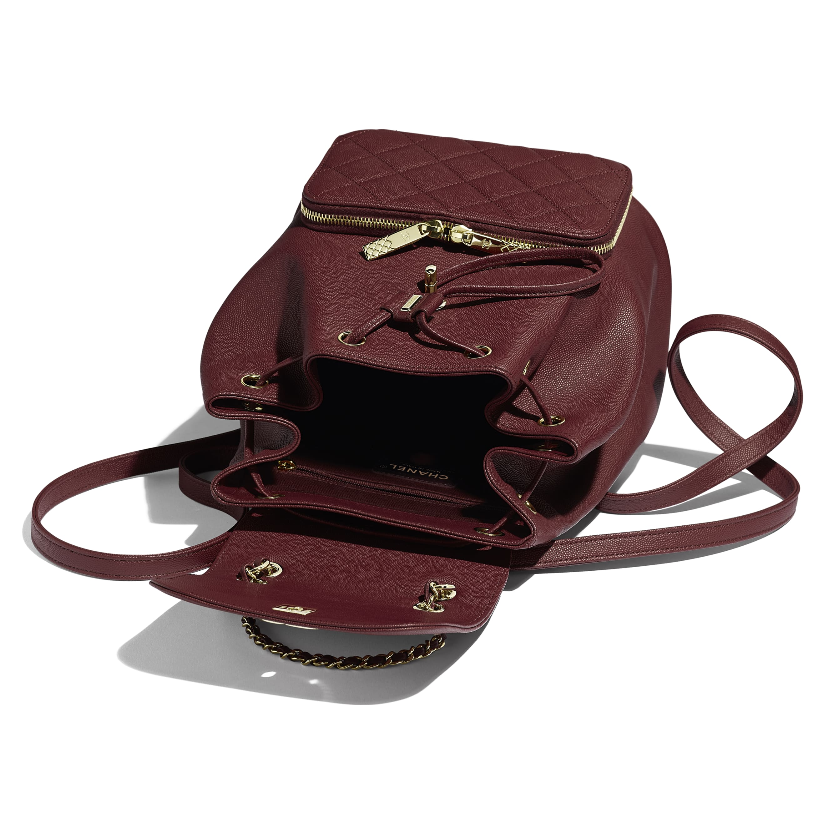Backpack - Burgundy - Grained Calfskin & Gold-Tone Metal - Other view - see standard sized version