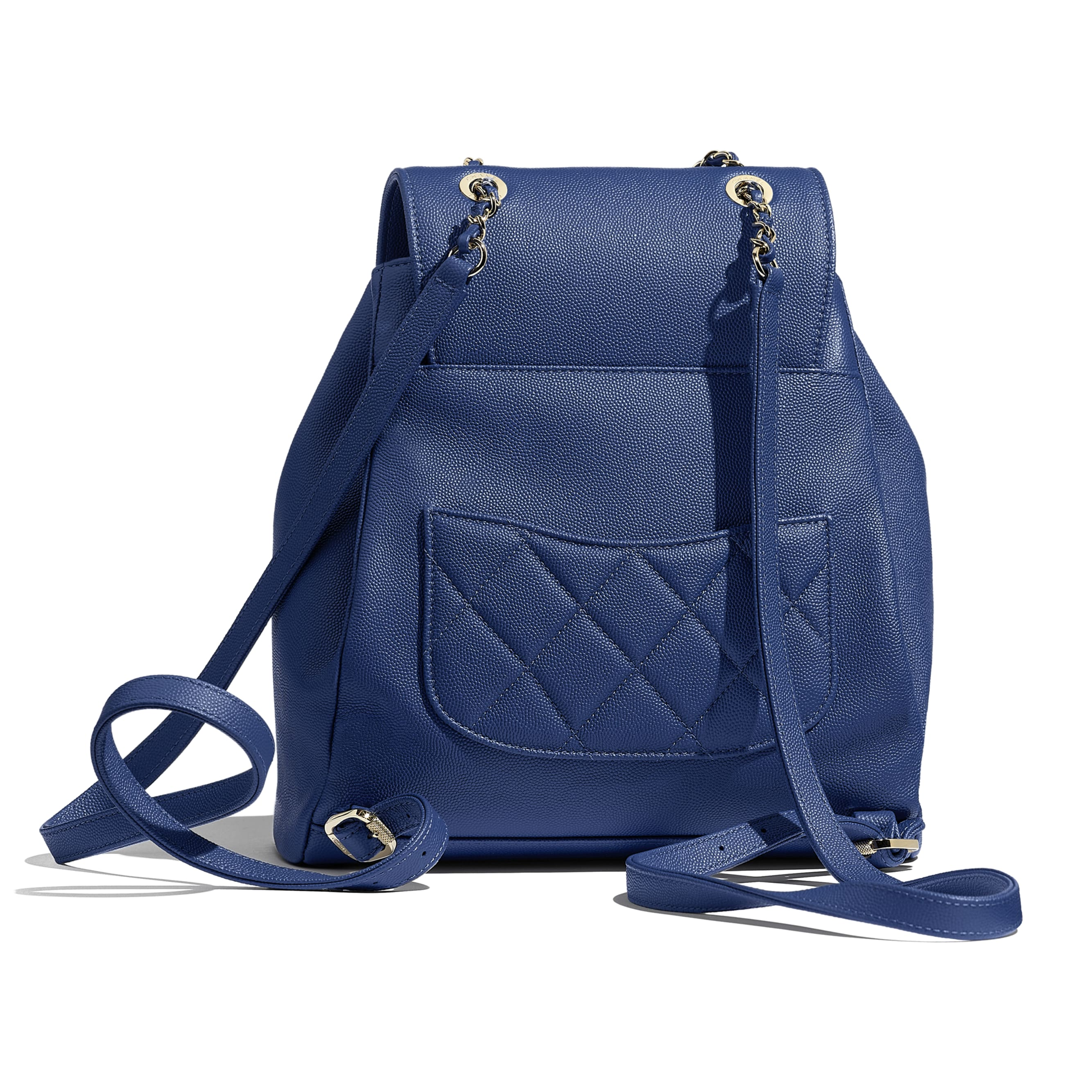 Backpack - Dark Blue - Grained Calfskin & Gold-Tone Metal - Alternative view - see standard sized version