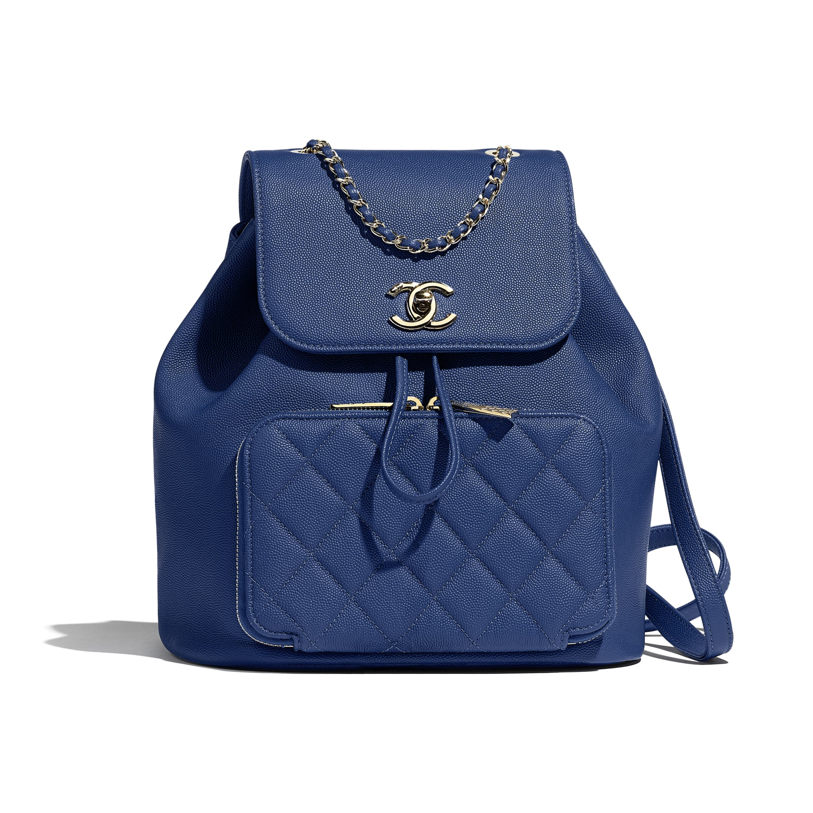 Backpack - Dark Blue - Grained Calfskin & Gold-Tone Metal - Default view - see standard sized version