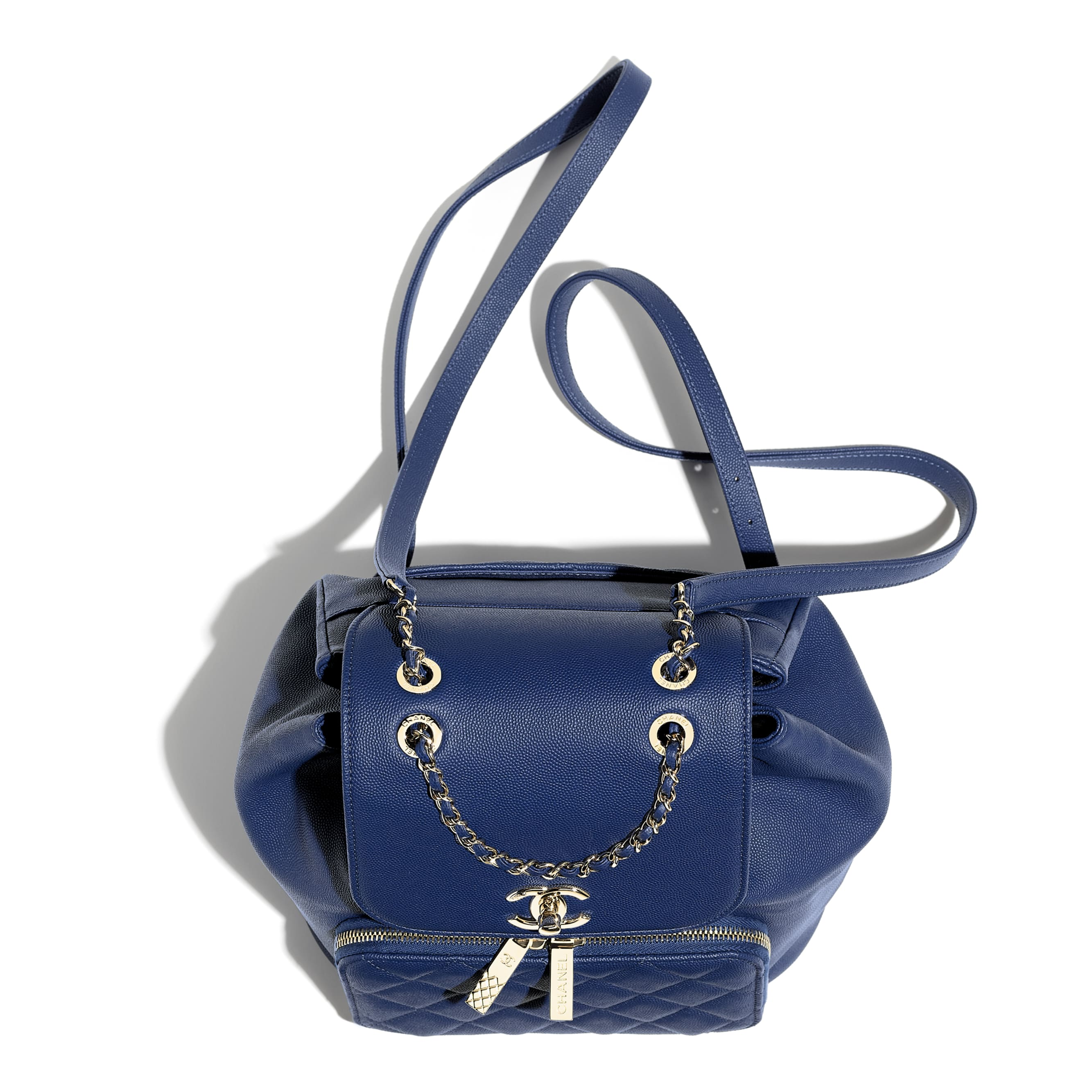 Backpack - Dark Blue - Grained Calfskin & Gold-Tone Metal - Extra view - see standard sized version
